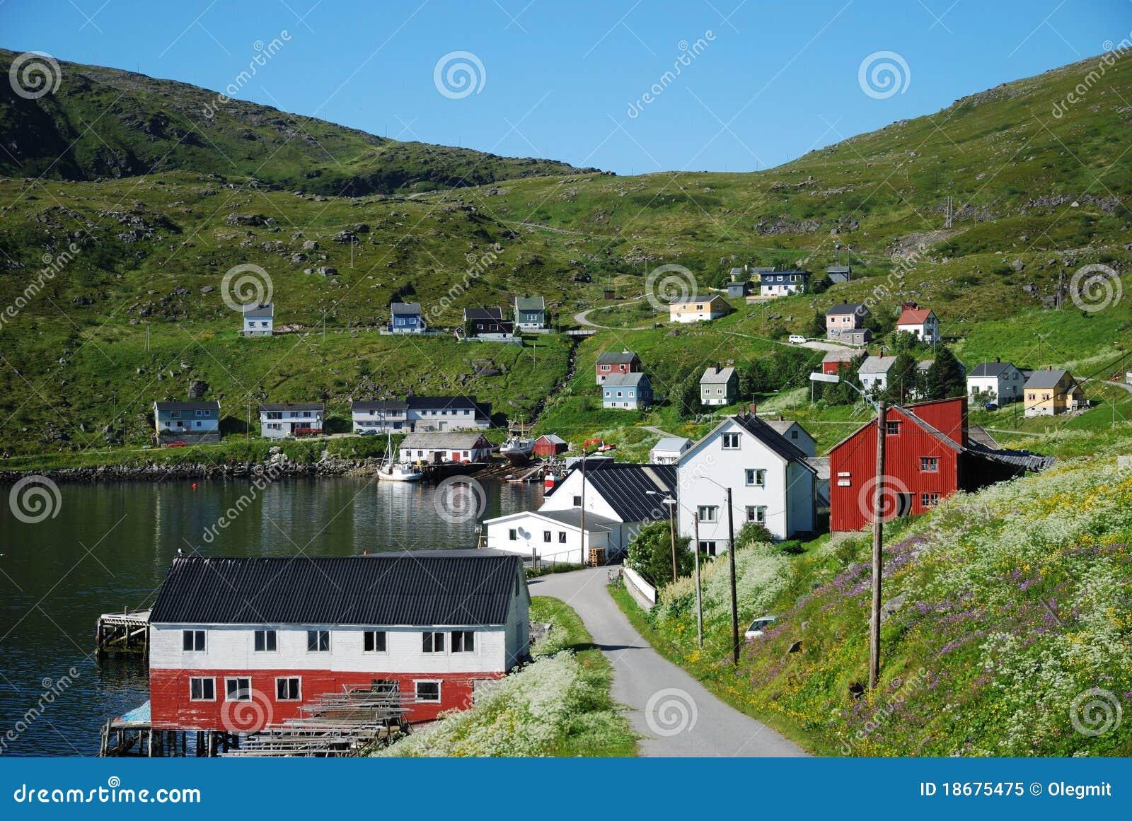 Summer View Of Fishing Village Akkarfjord Royalty Free Stock Photo - Image: 18675475
