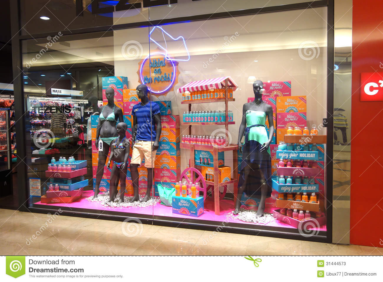 Summer Wear Store Window Display Editorial Stock Photo