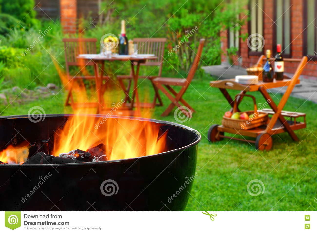 Summer Weekend BBQ Scene With Grill On The Backyard Garden