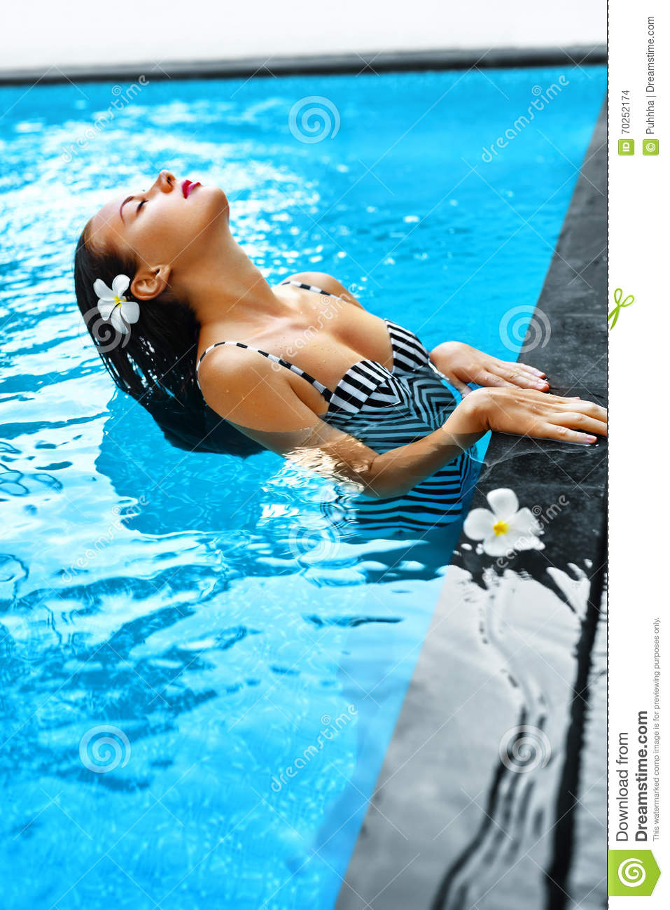 Summer. Woman In Swimming Pool Water. Spa. Body Care, Beauty ...