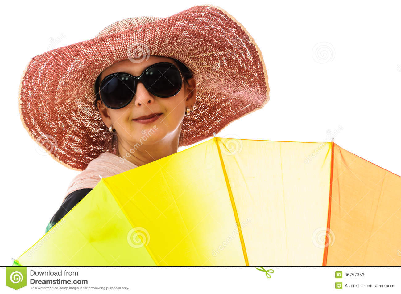 Woman behind rainbow colored umbrella. Summer clothing and accessories