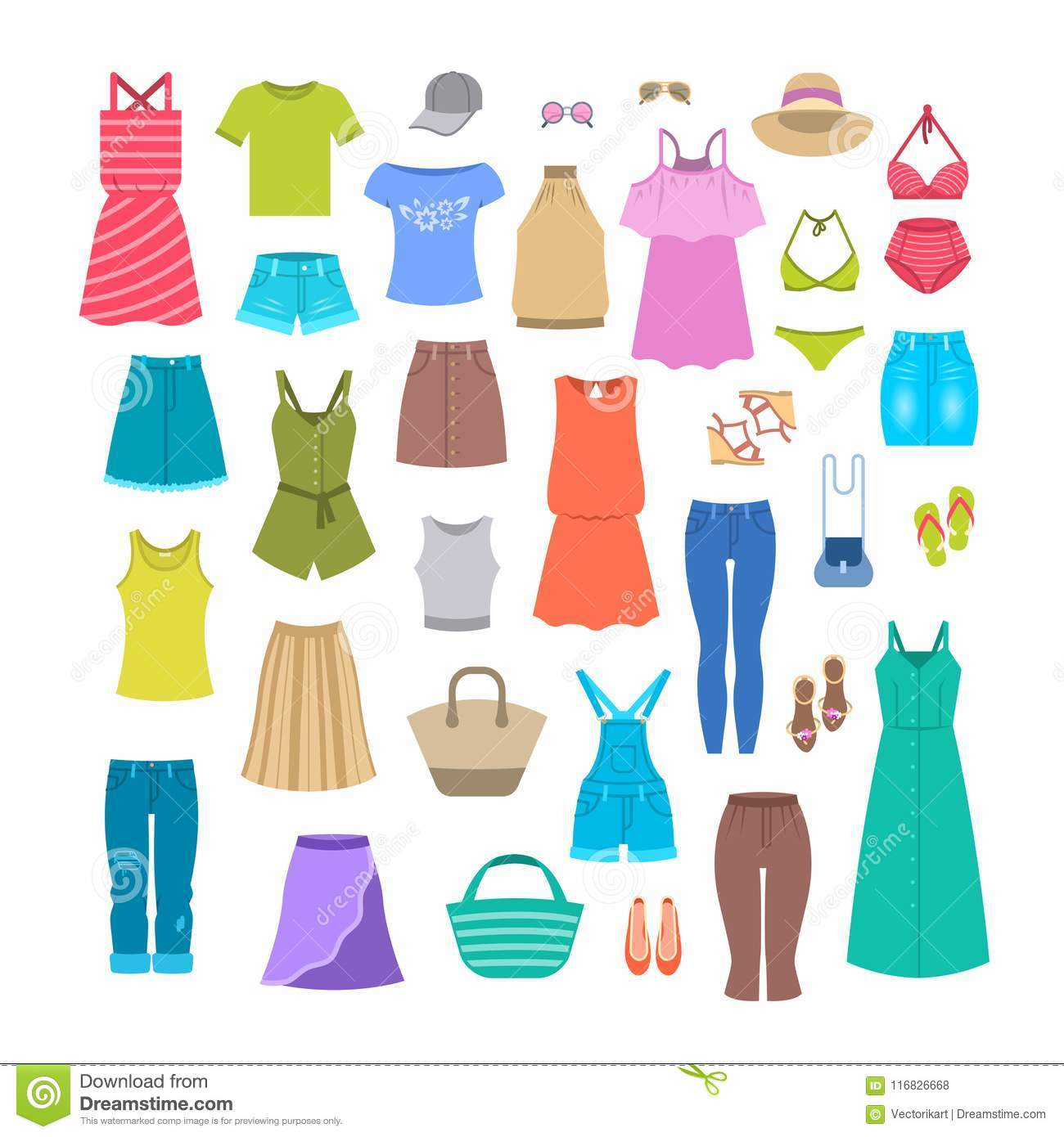 d0b1b6c788 Women clothes and accessories collection for summer vacation. Seasonal  female outfit flat vector icons. Casual fashion infographic elements.