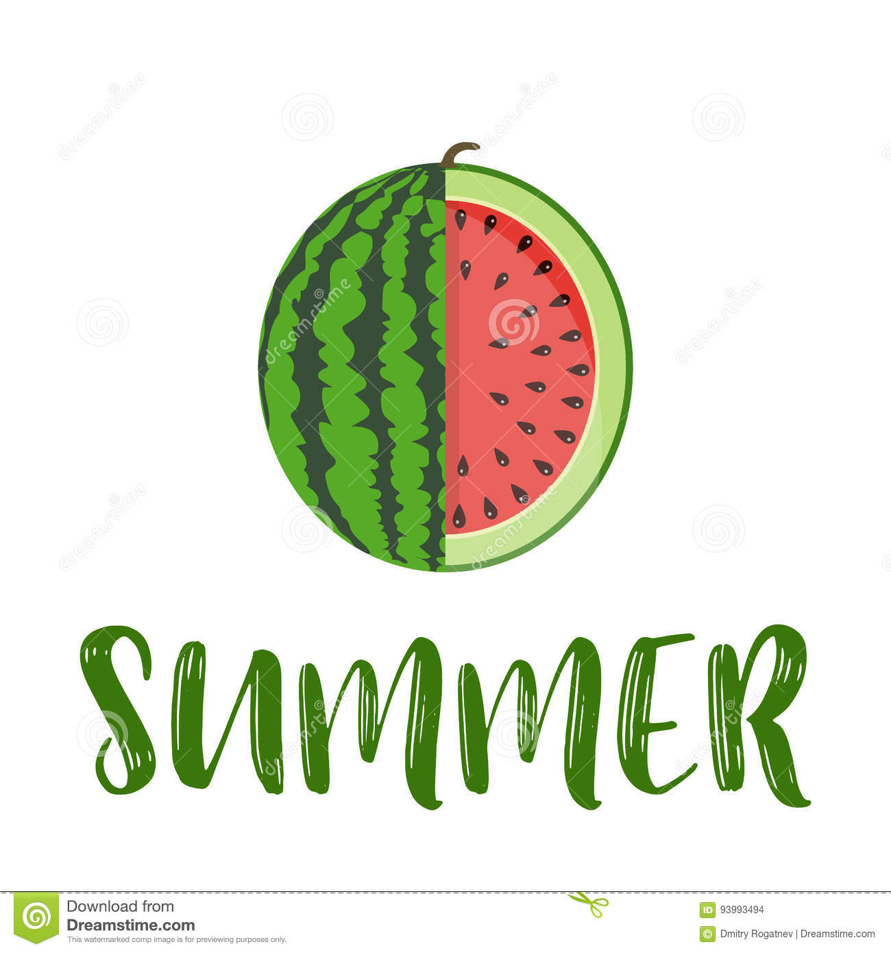 summer word with fruit watermelon stock vector illustration of