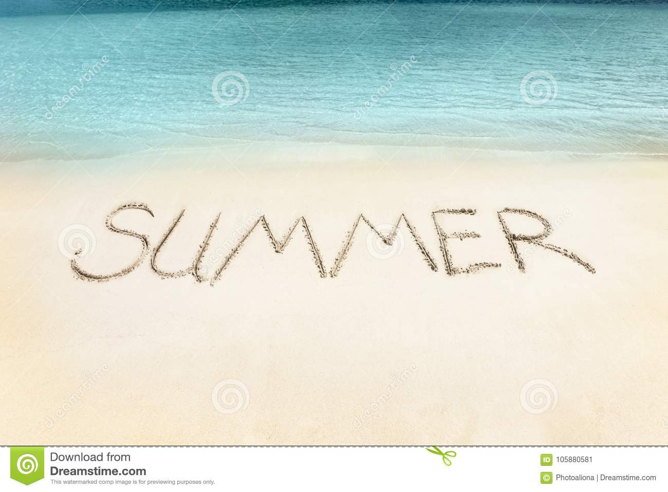 the summer word written on the beach sand stock image image of