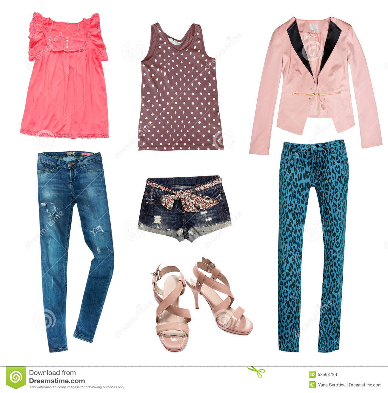 Summer Young Fashion Collage Clothes Stock Photo Image