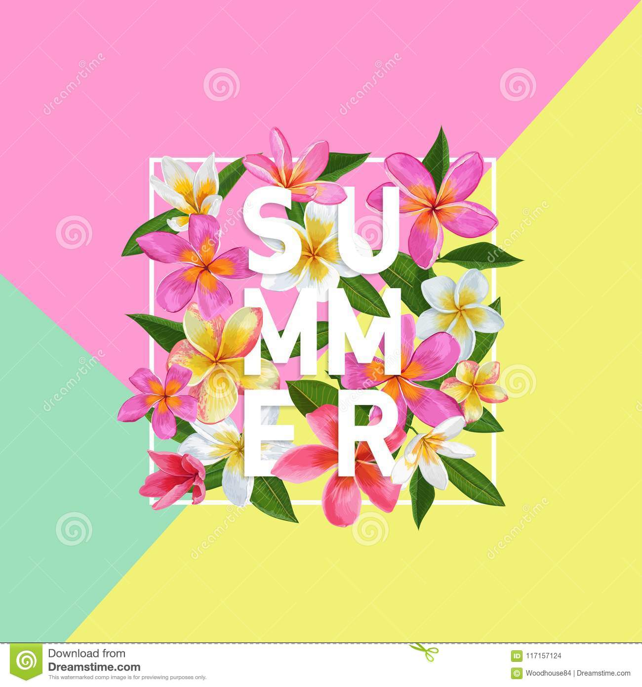 summertime floral poster tropical pink plumeria flowers design for
