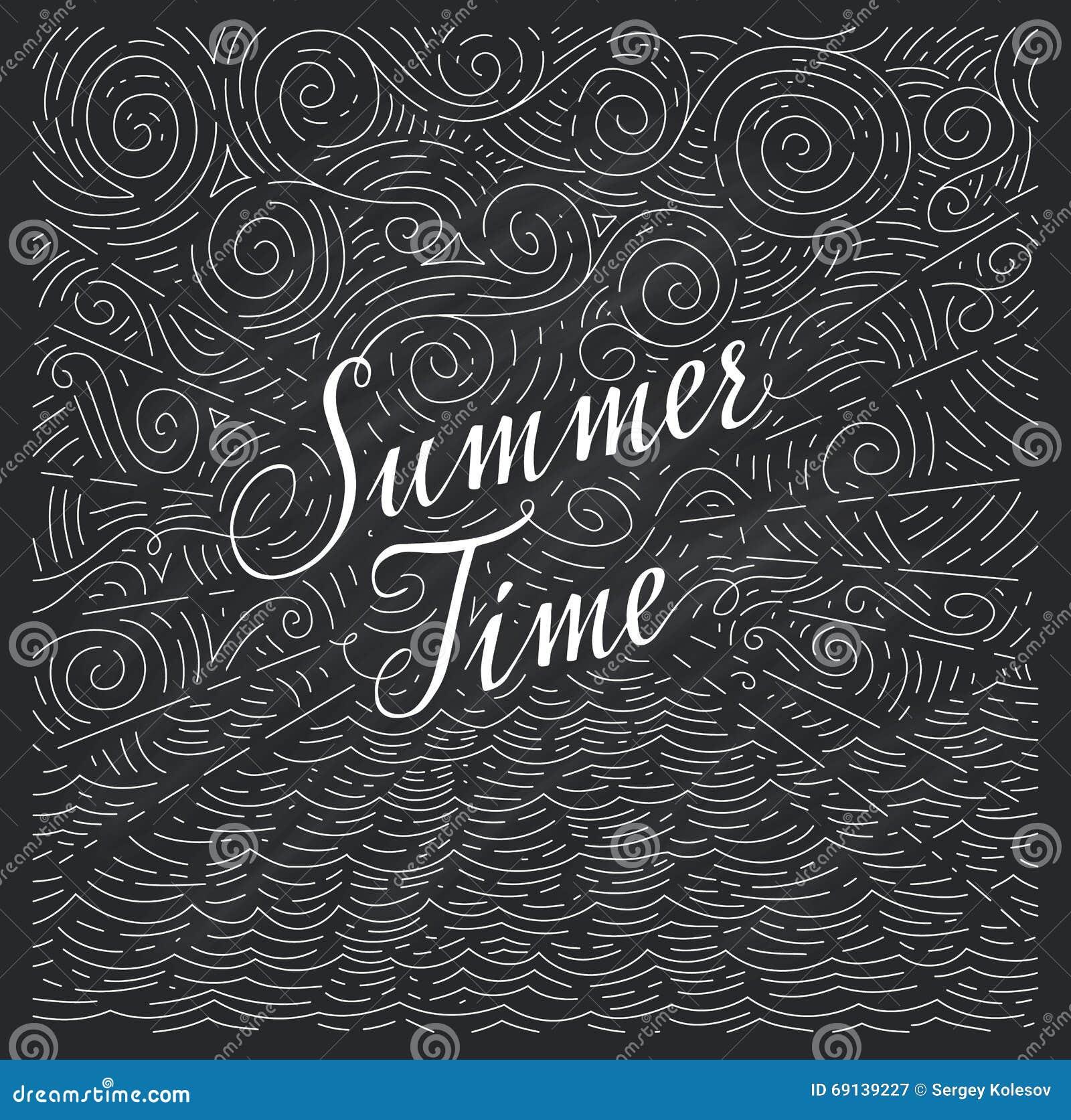 Summertime Frase Escrita à Mão Em Um Fundo Abstrato Do Mar E No Céu