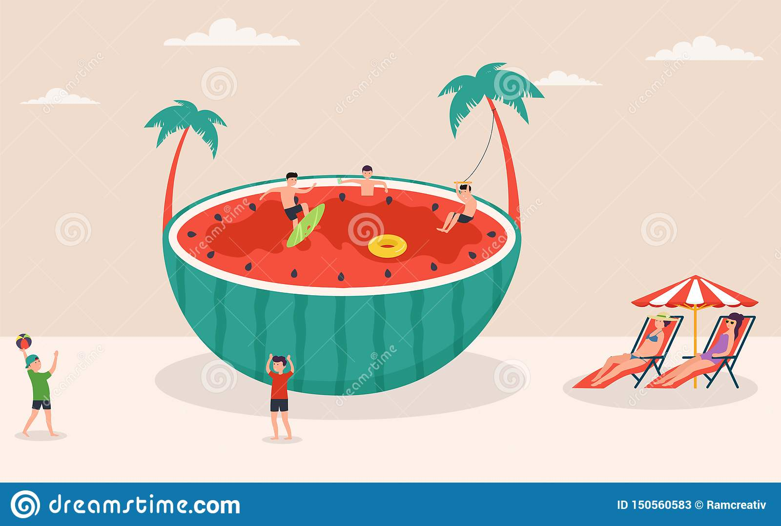 Summertime holiday scene, huge watermelon surfing, games in water and on beach, beach volleyball, characters