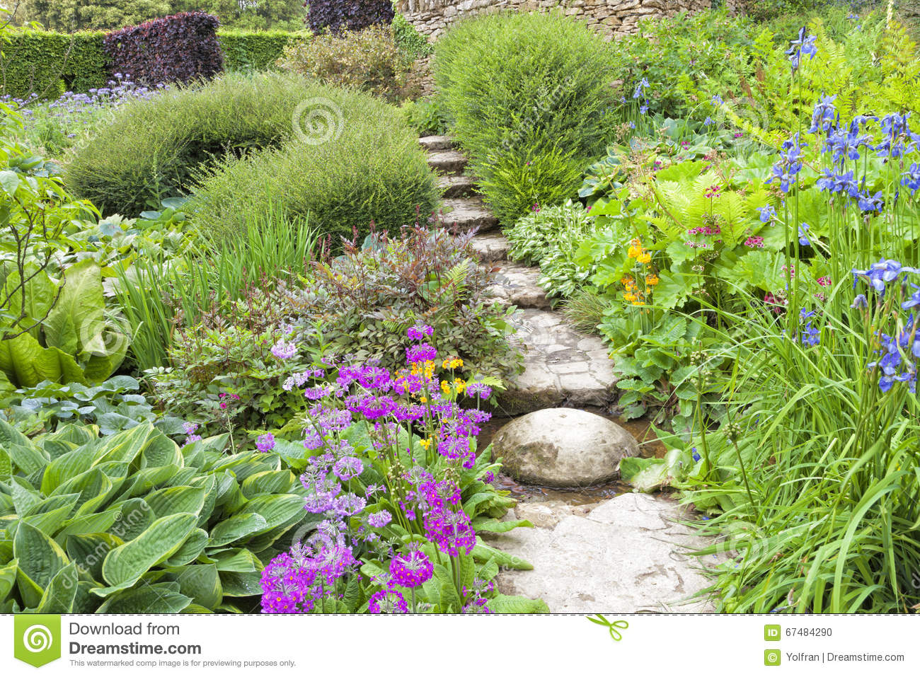 Royalty Free Stock Photo Download Summertime Lush Cottage Garden With Stone Path