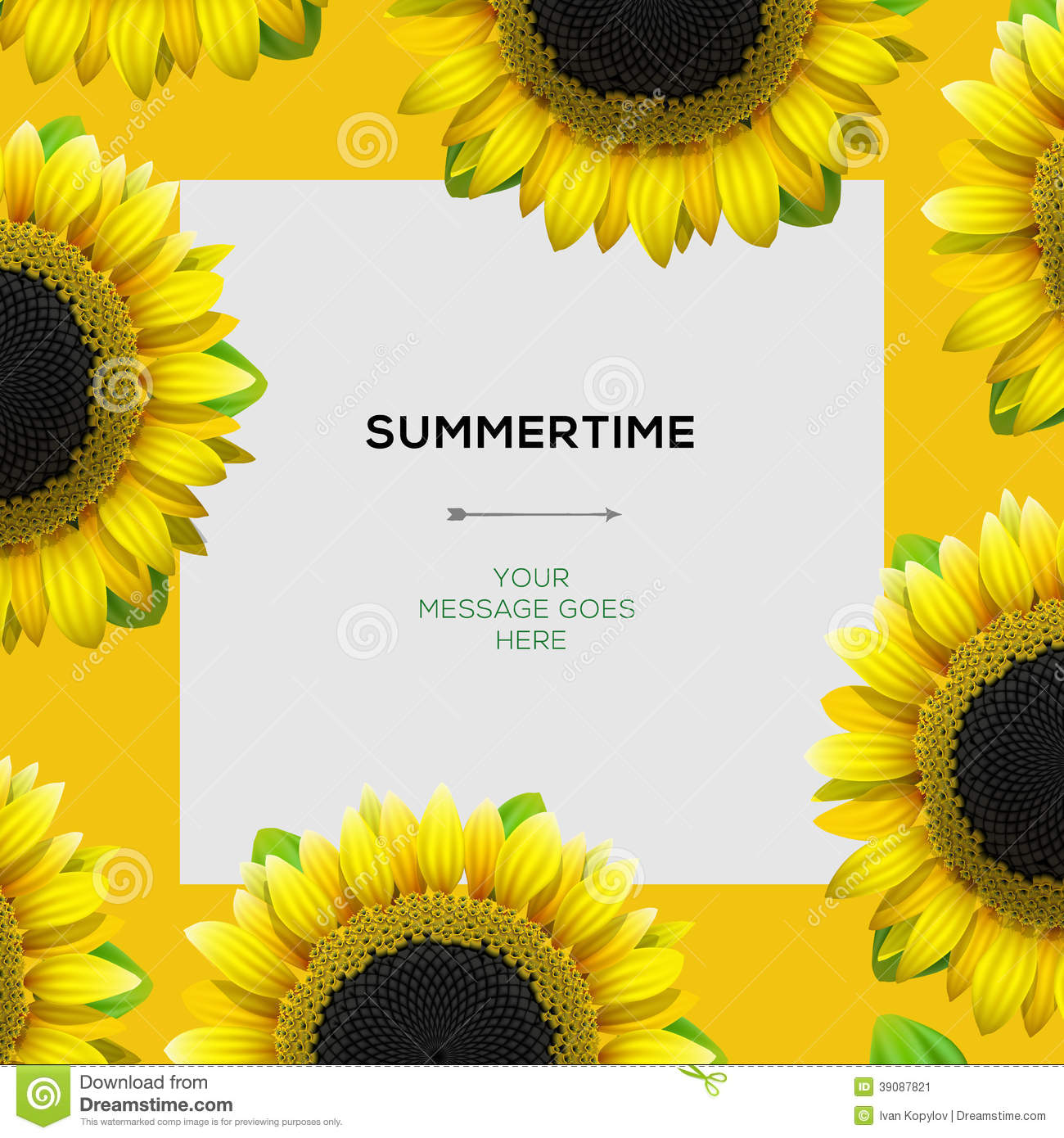 Summertime Template With Sunflowers Background Download Preview