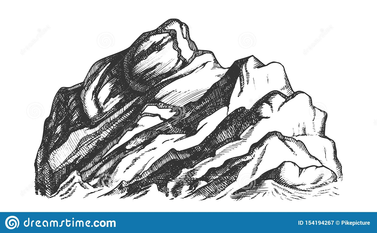 Summit Of Mountain Landscape Hand Drawn Vector Stock Vector