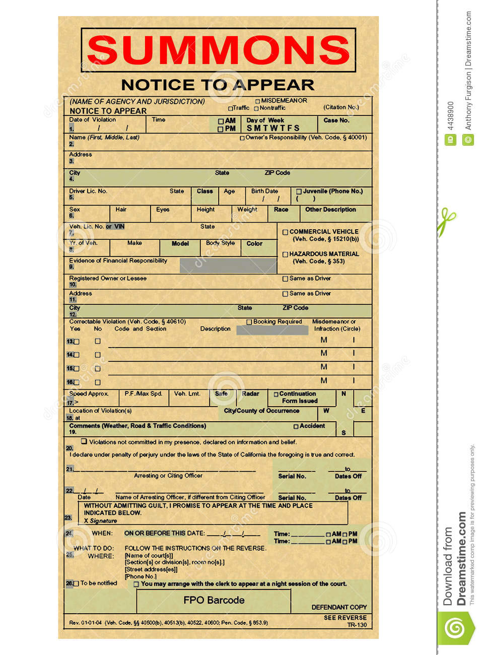 blank speeding ticket template