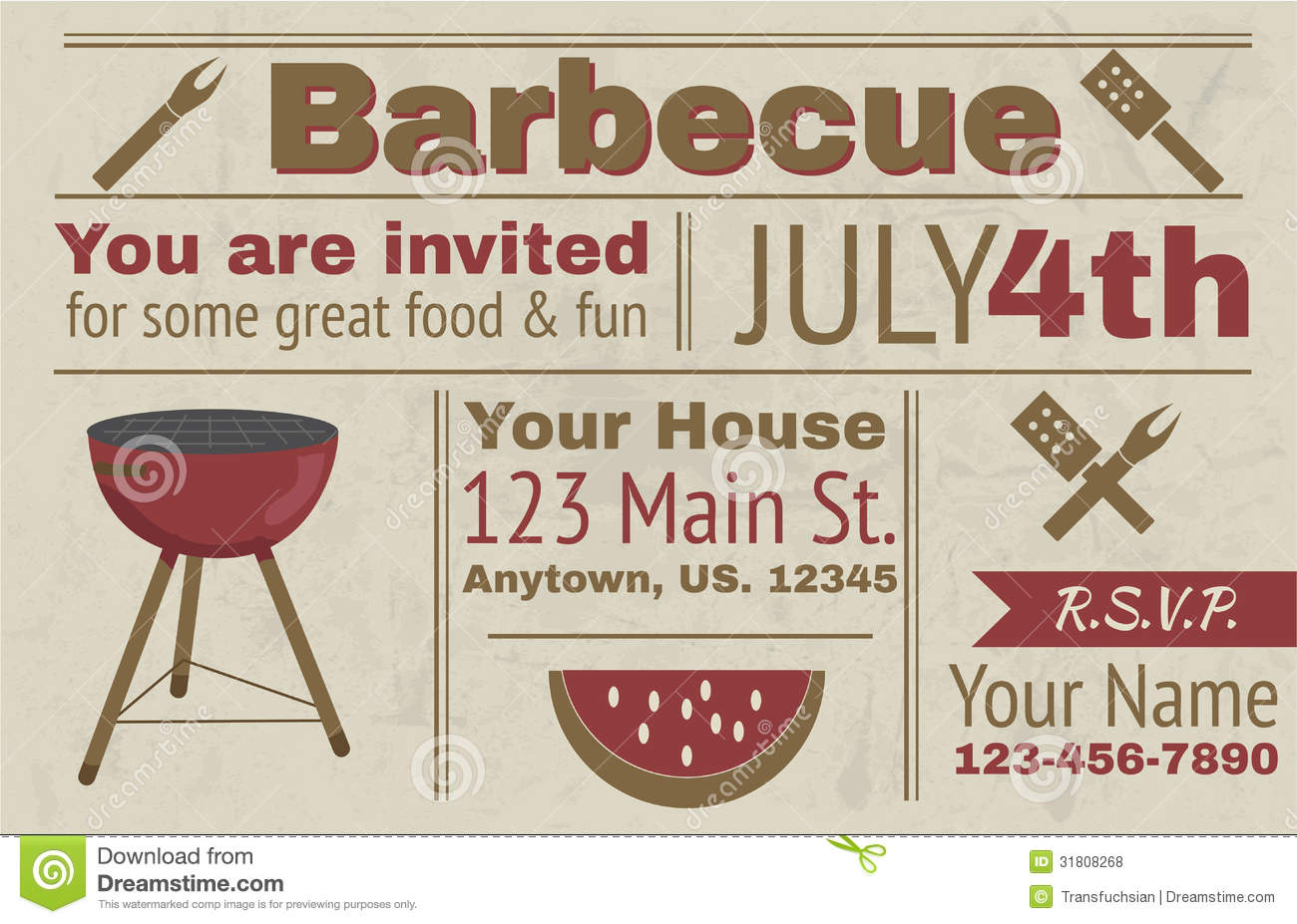 Summer barbecue invitation stock vector. Illustration of grill ...