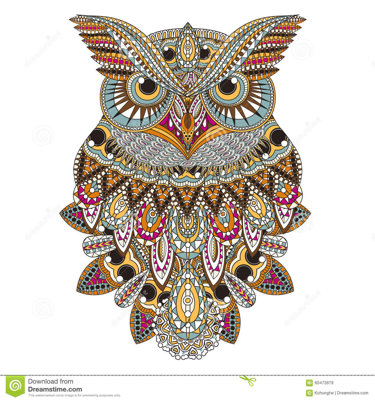 Sumptuous Owl Coloring Page In Exquisite Style Royalty Free Illustration
