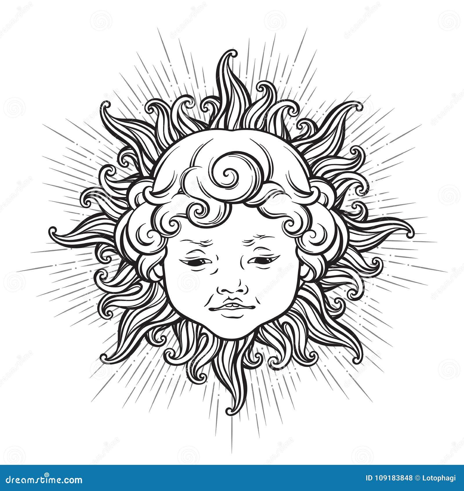 Sun Avec Le Visage Du Bebe Garcon De Sourire Boucle Mignon D