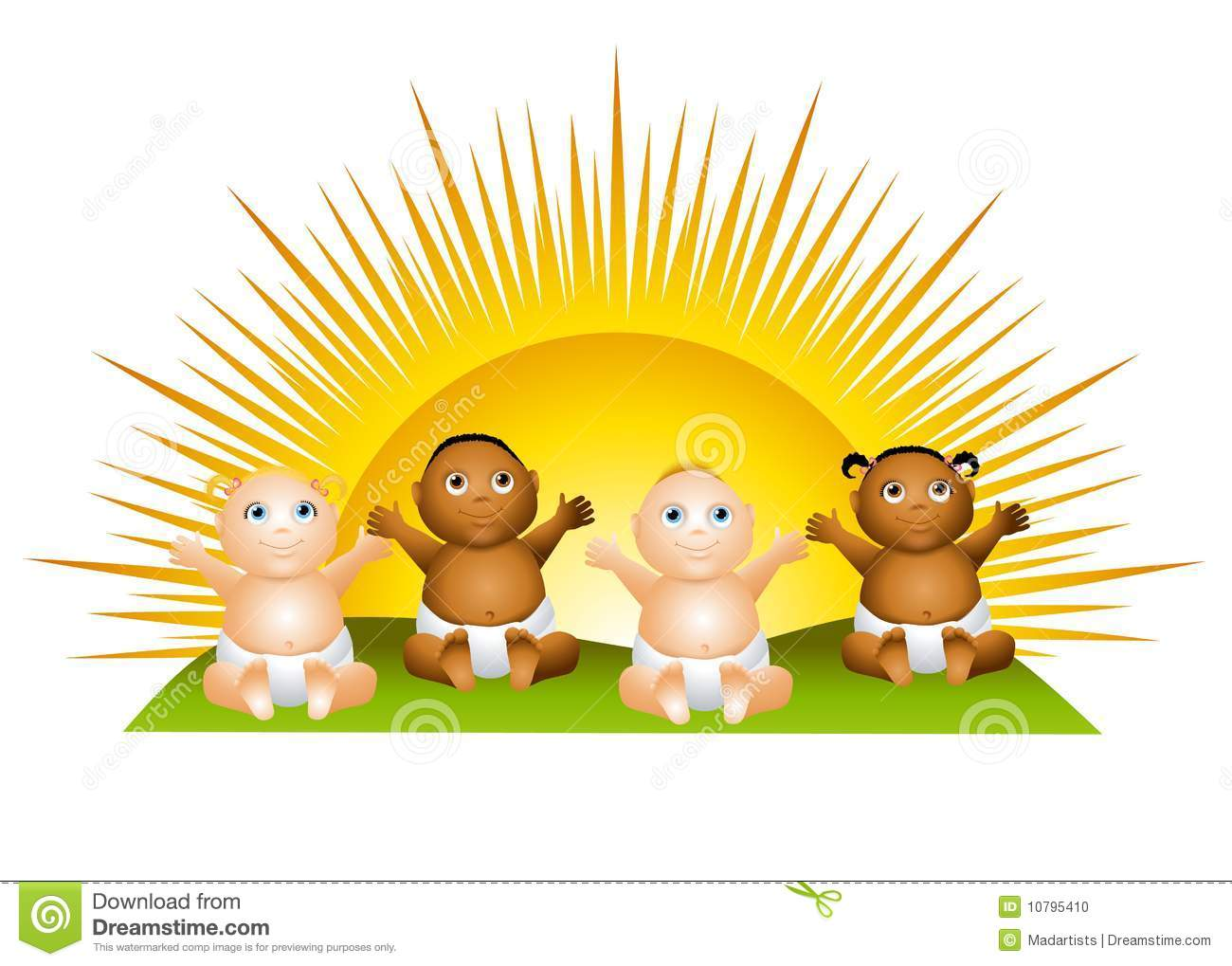 Sun Babies Clip Art Stock Photo - Image: 10795410