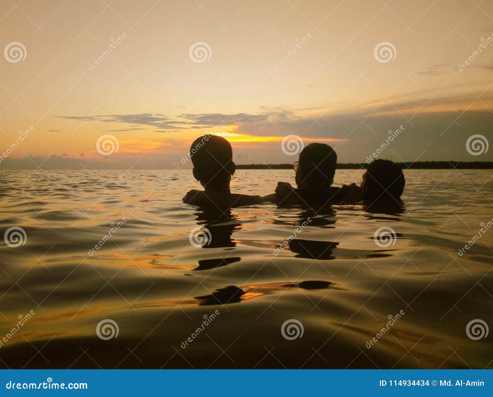 Sun bath on sea.