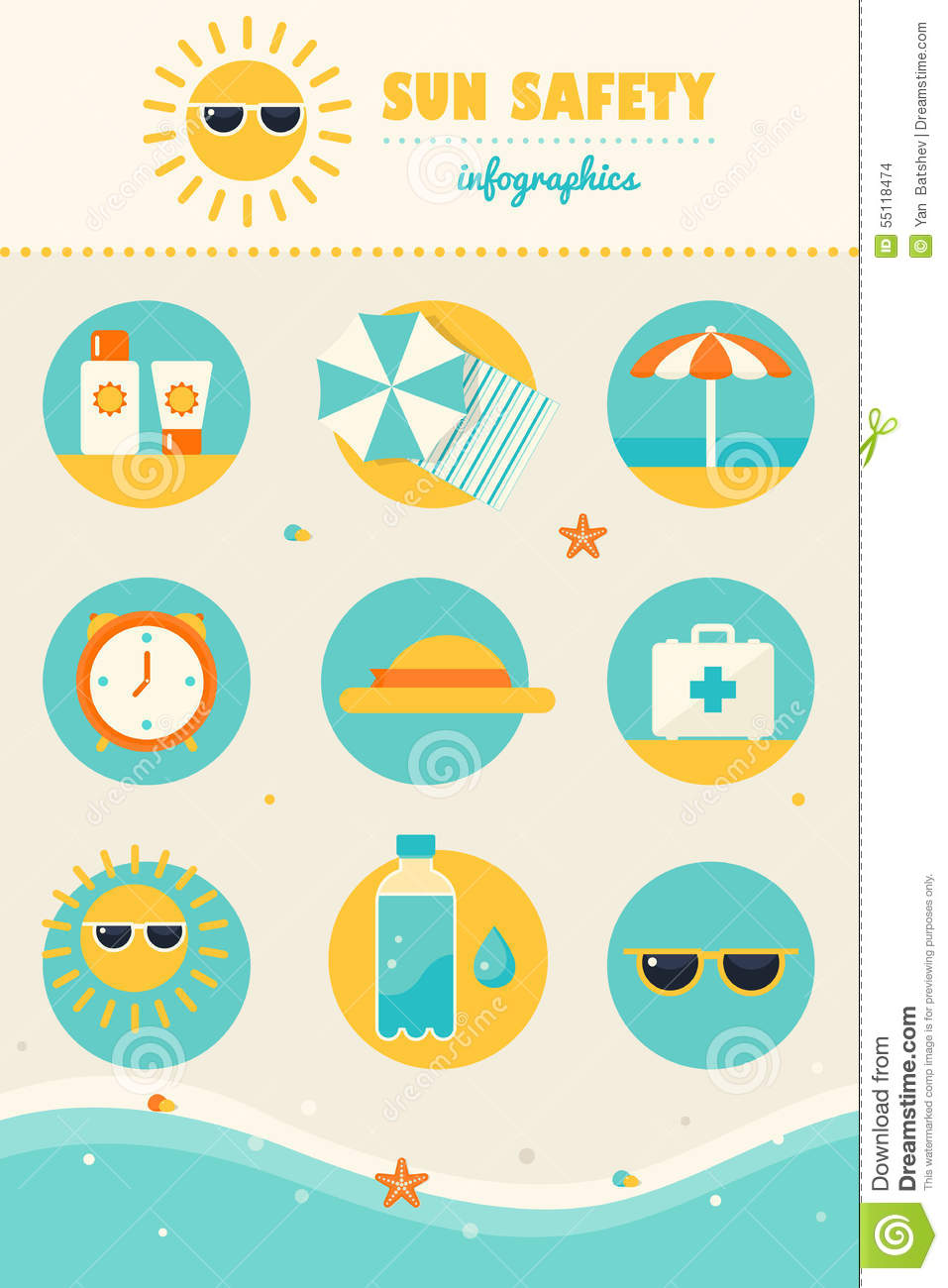 Sun And Beach Safety Rules Infographics Icons Set Stock Vector ...
