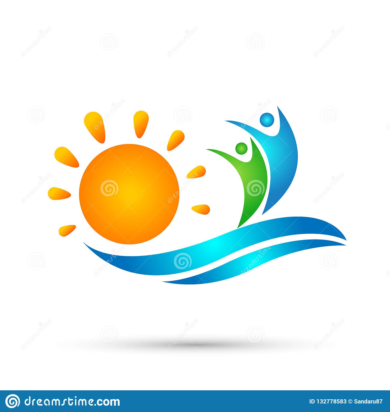 Sun beach water wave people team work union wellness celebration group work concept symbol icon design vector on white background