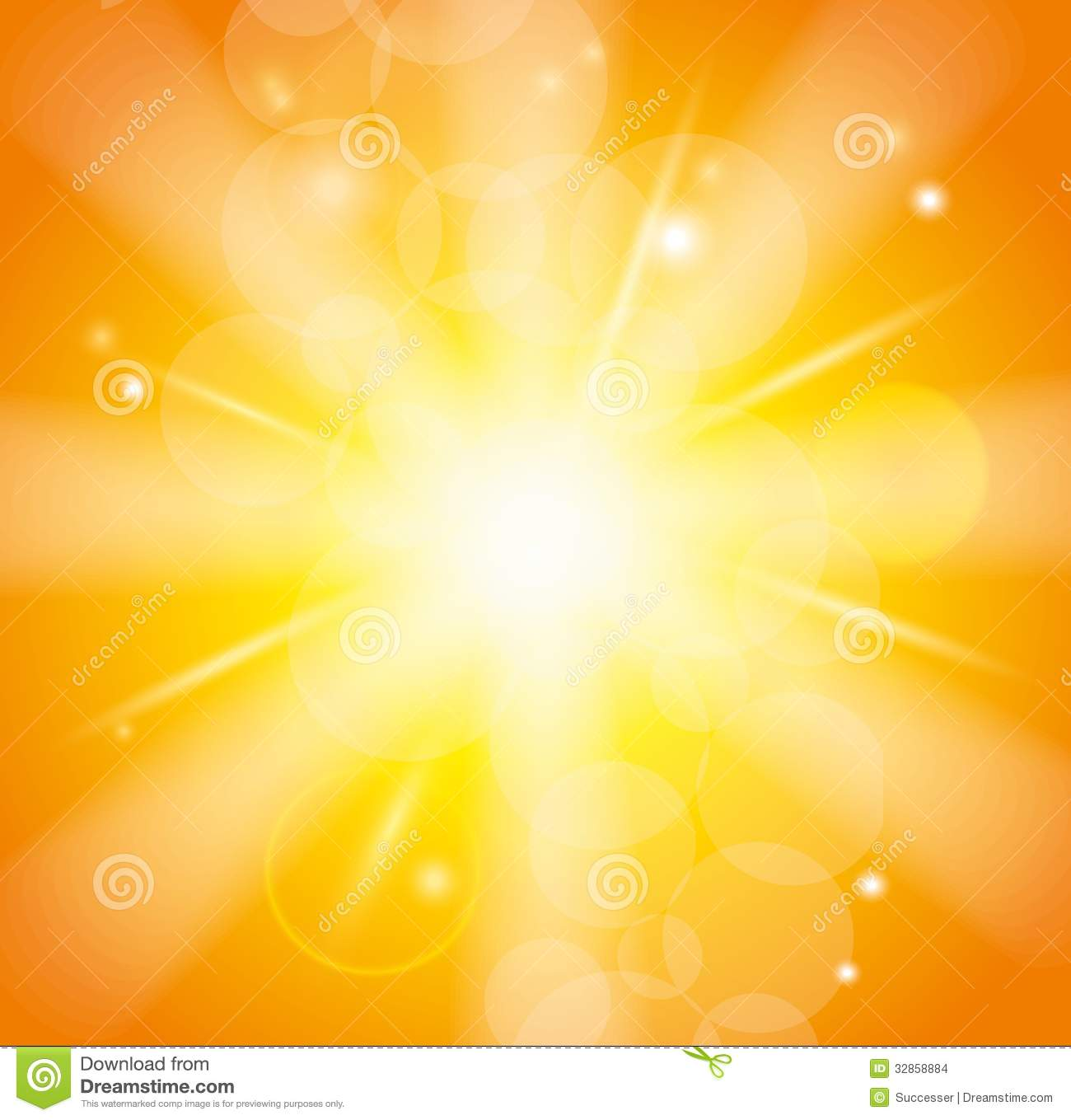 Sun Beams With Orange Yellow Blurred Stock Images - Image: 32858884