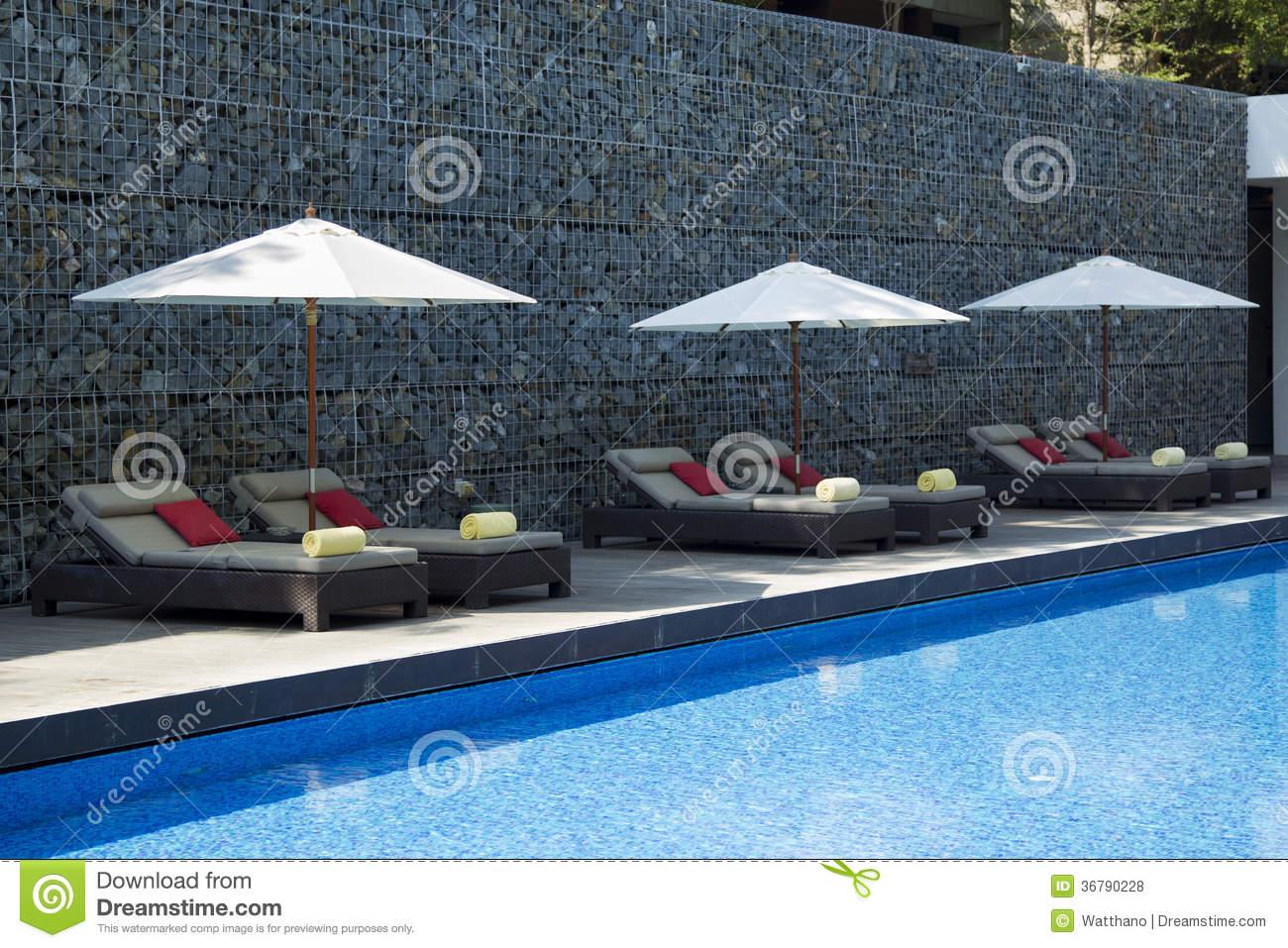 Sun bed in swimming pool area royalty free stock photos for Swimming pool bed