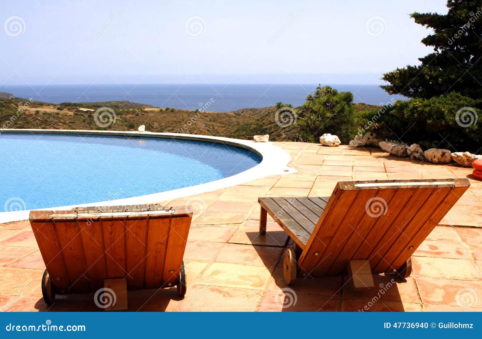 Sun Bed Terrace Swimming Pool Stock Photo Image 47736940