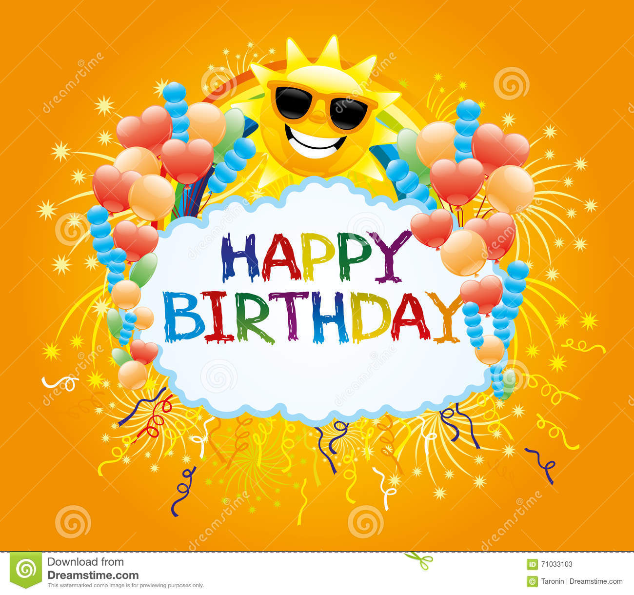 Sun And Birthday Greetings Stock Vector Illustration Of