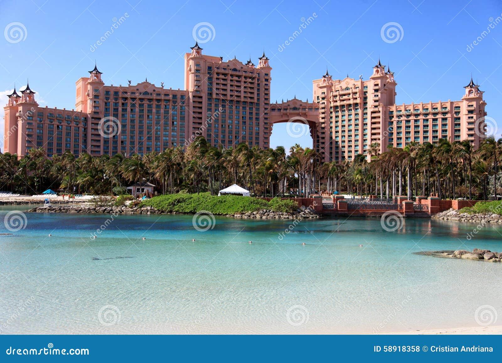 Sun, blue sky and puffy clouds at Atlantis hotel, Paradise Island, Bahamas