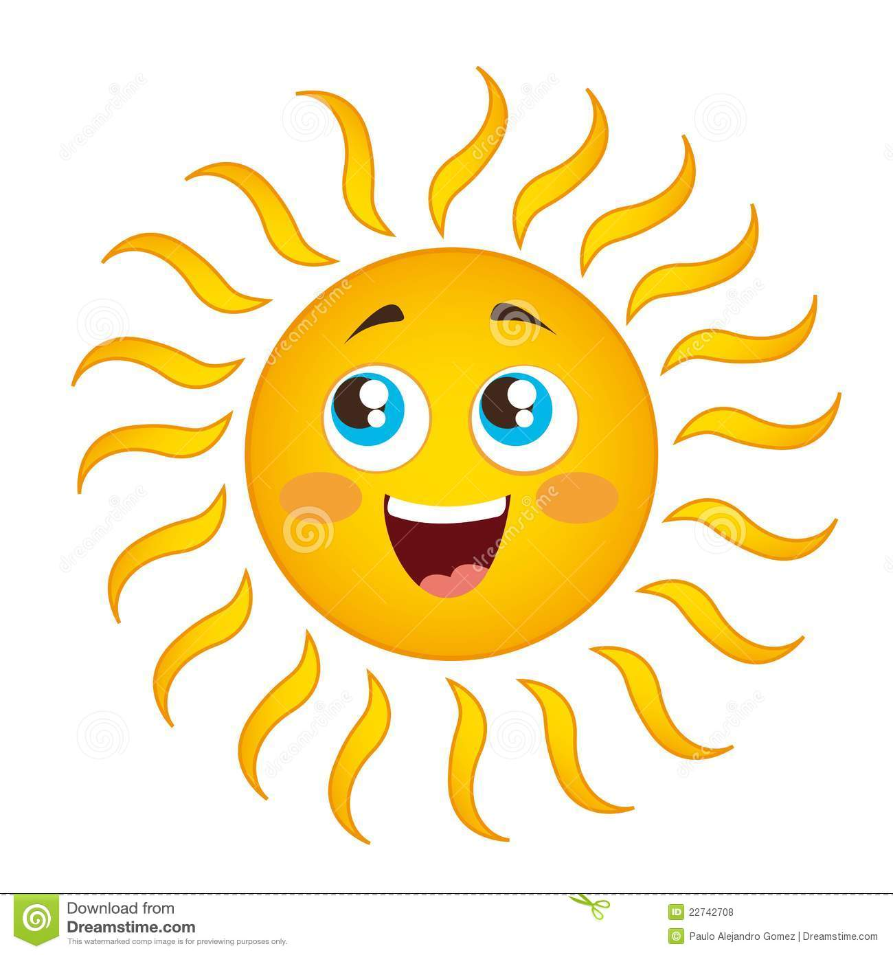 Happy sun cartoon isolated over white background vector.