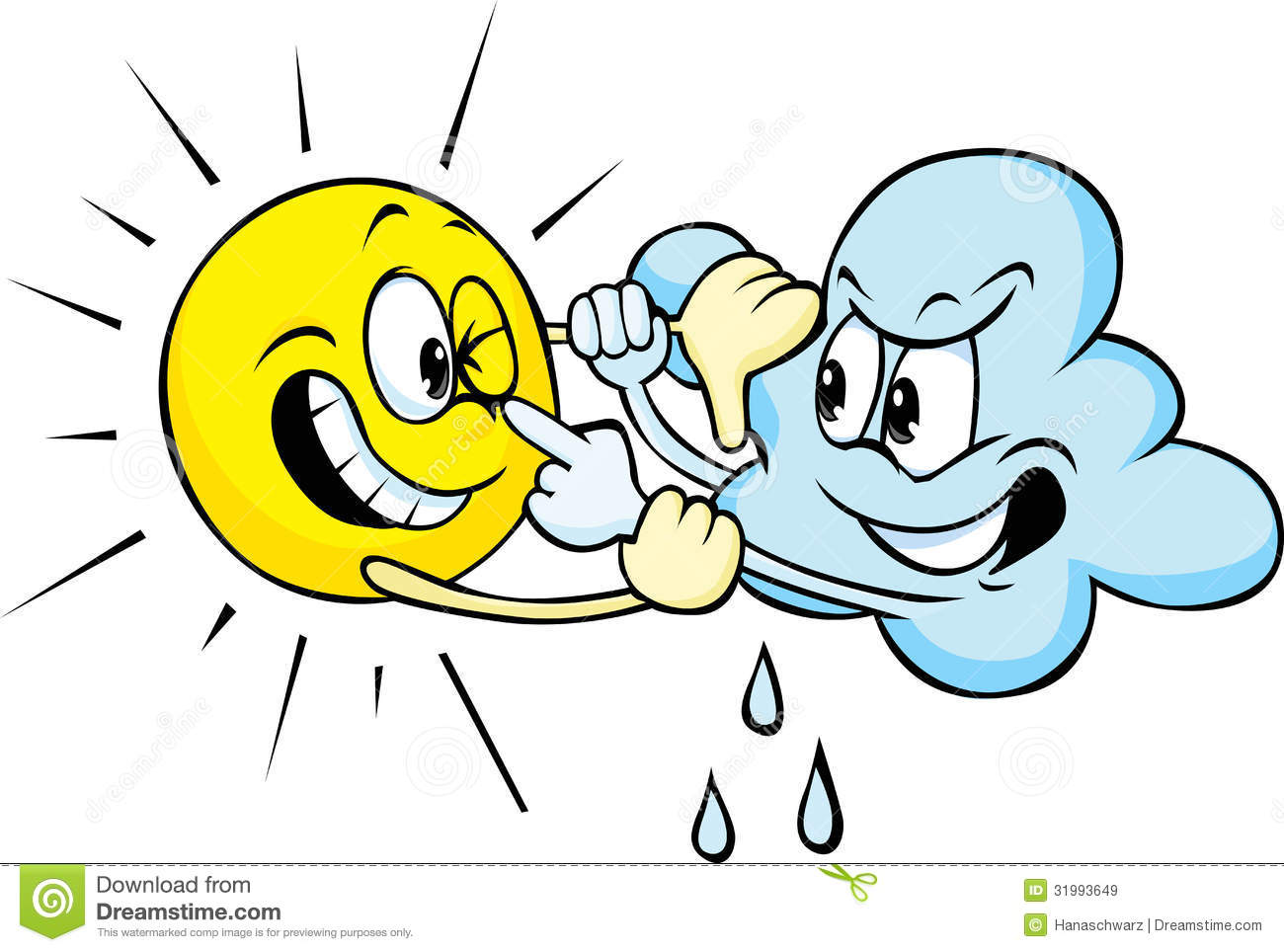 Sun And Cloud Cartoon Fighting Royalty Free Stock Images - Image ...