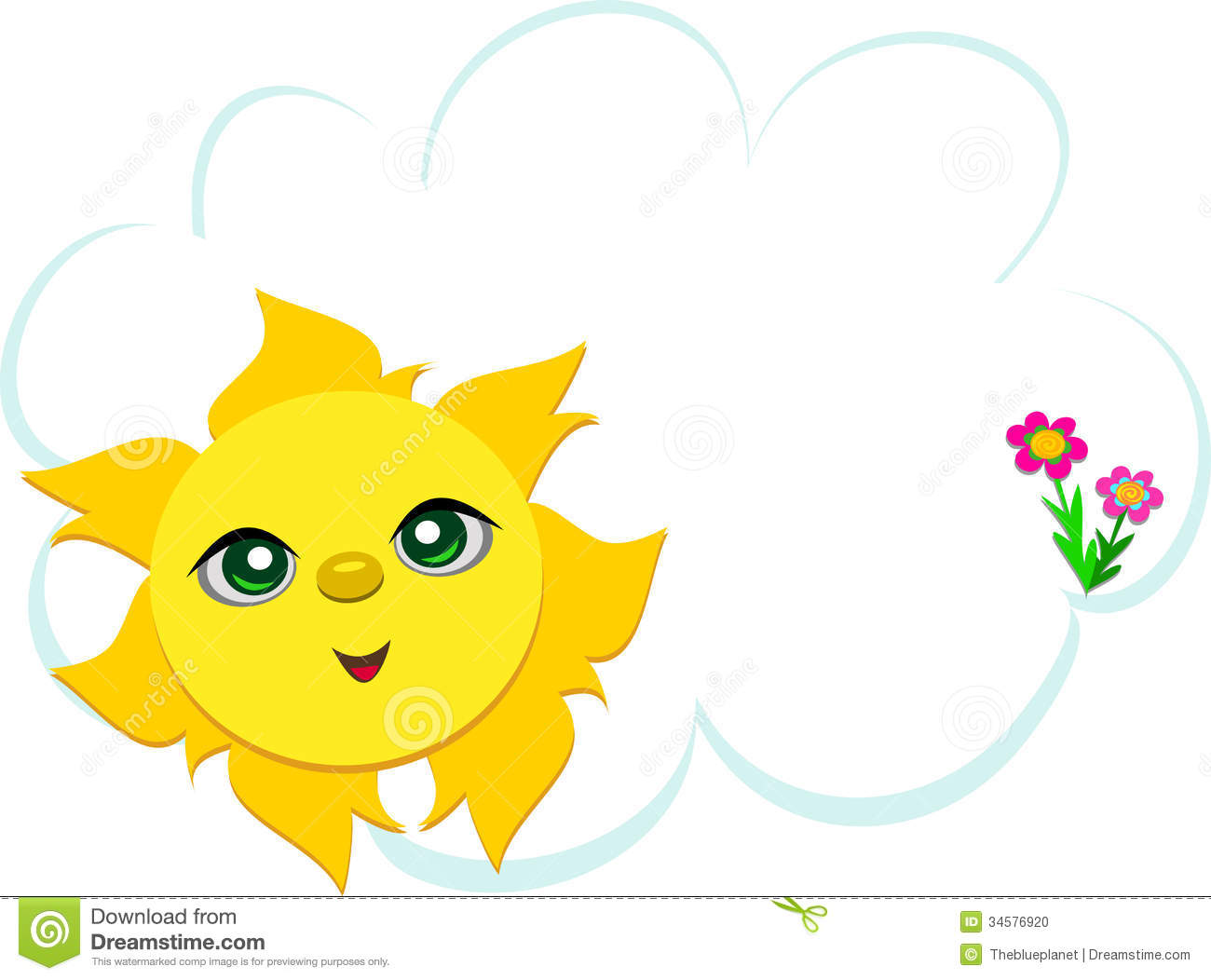Sun With Cloud And Flowers Stock Photo - Image: 34576920