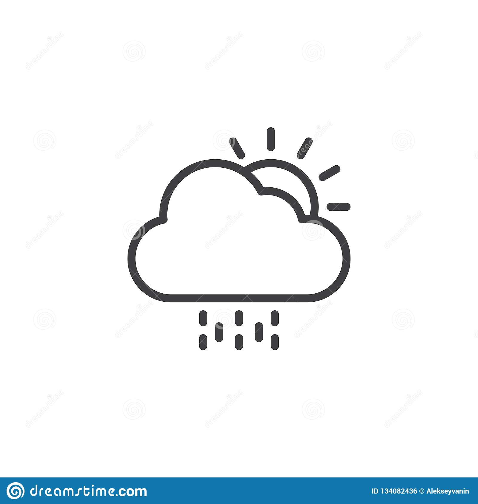 Sun With Cloud And Rain Outline Icon  Stock Vector