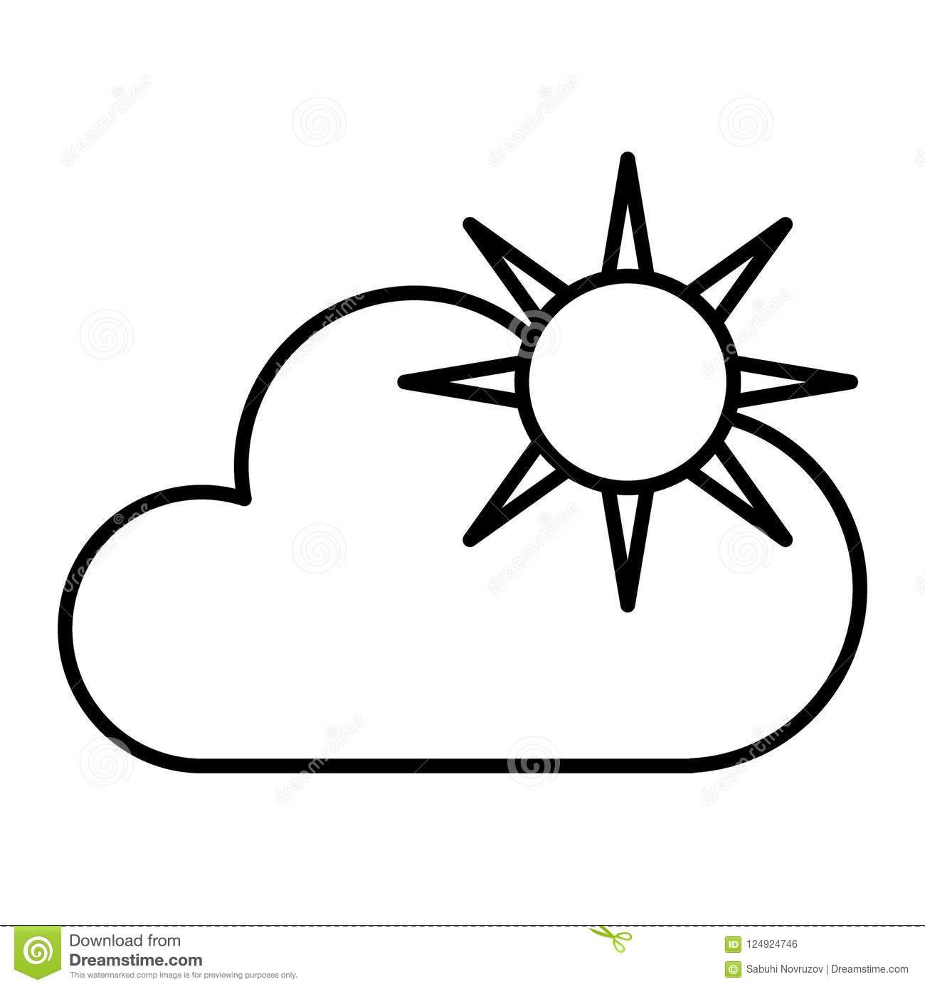 Sun And Cloud Thin Line Icon Weather Vector Illustration