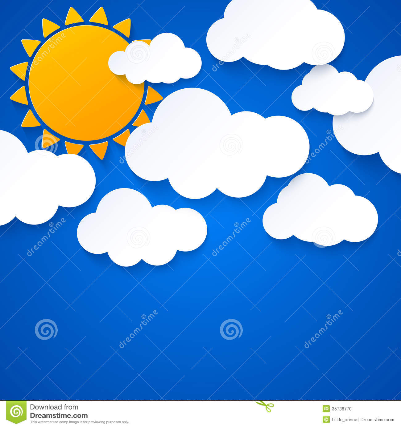 sun and clouds on blue sky background stock vector illustration of