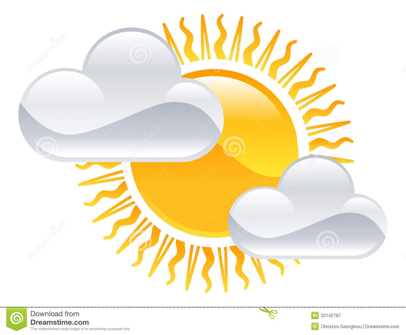 Sun And Clouds Icon Royalty Free Stock Photography - Image: 33142787