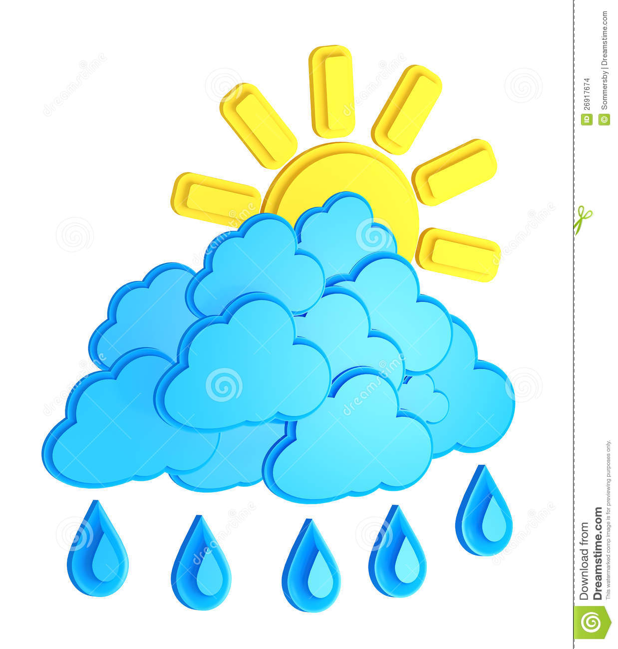 Sun, Clouds And Rain / Weather Forecast Stock Illustration