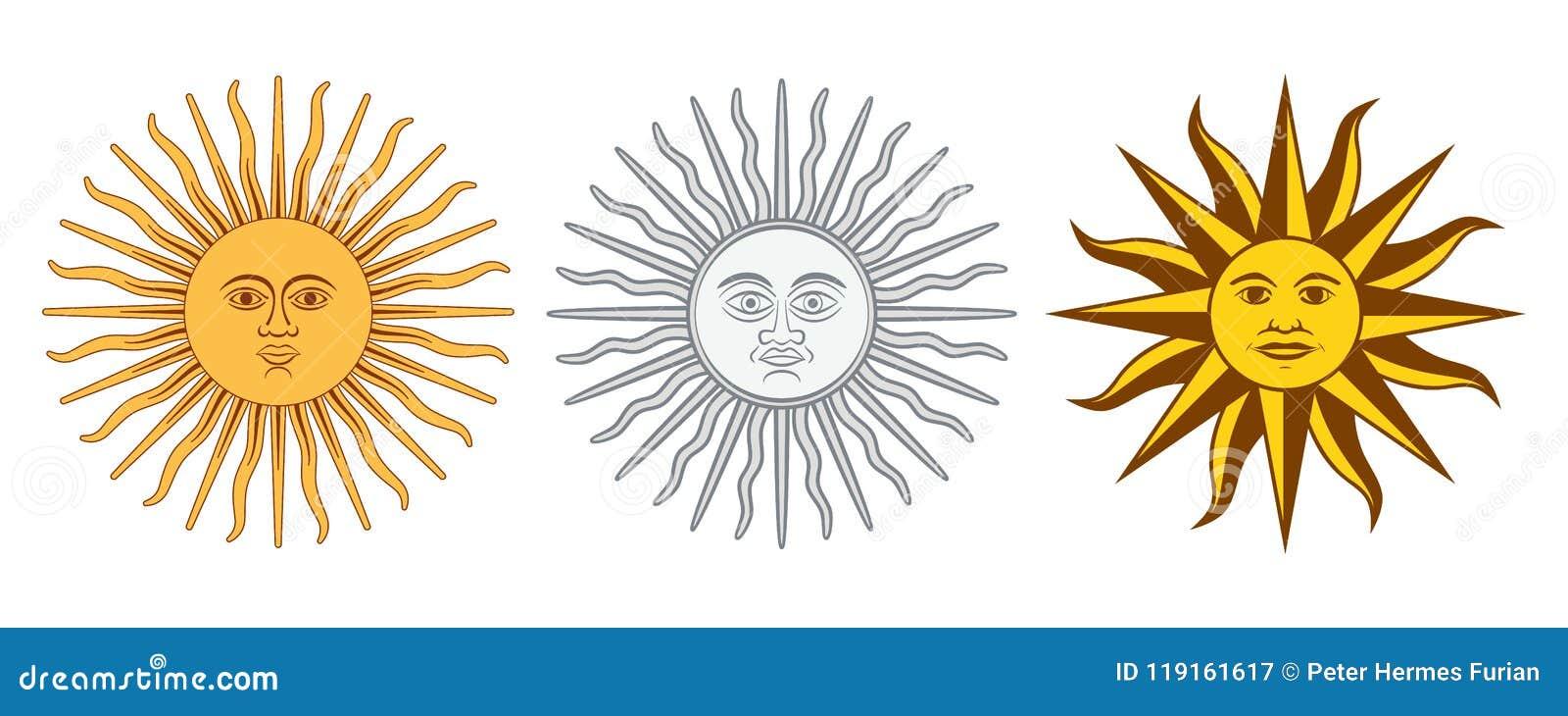 Sun de las variaciones de mayo, Sol de Mayo, la Argentina, Uruguay