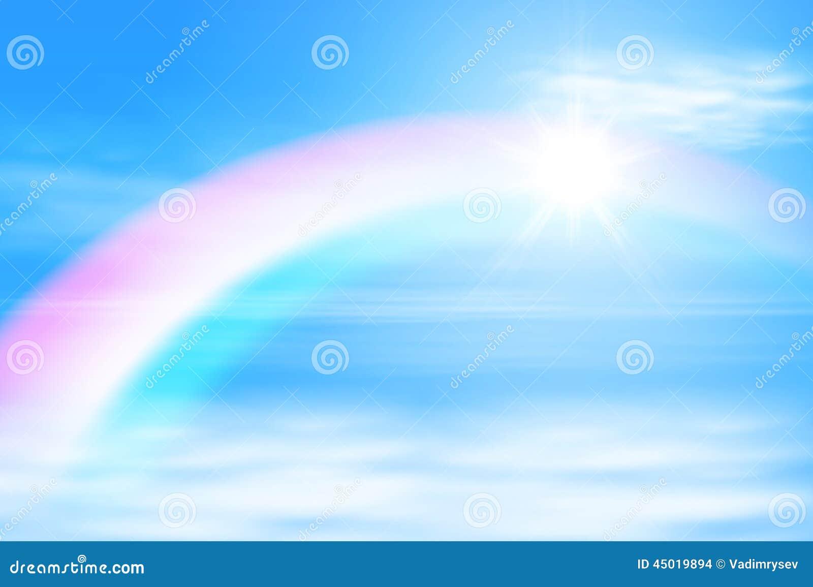 sun in der himmel mit regenbogen vektor abbildung