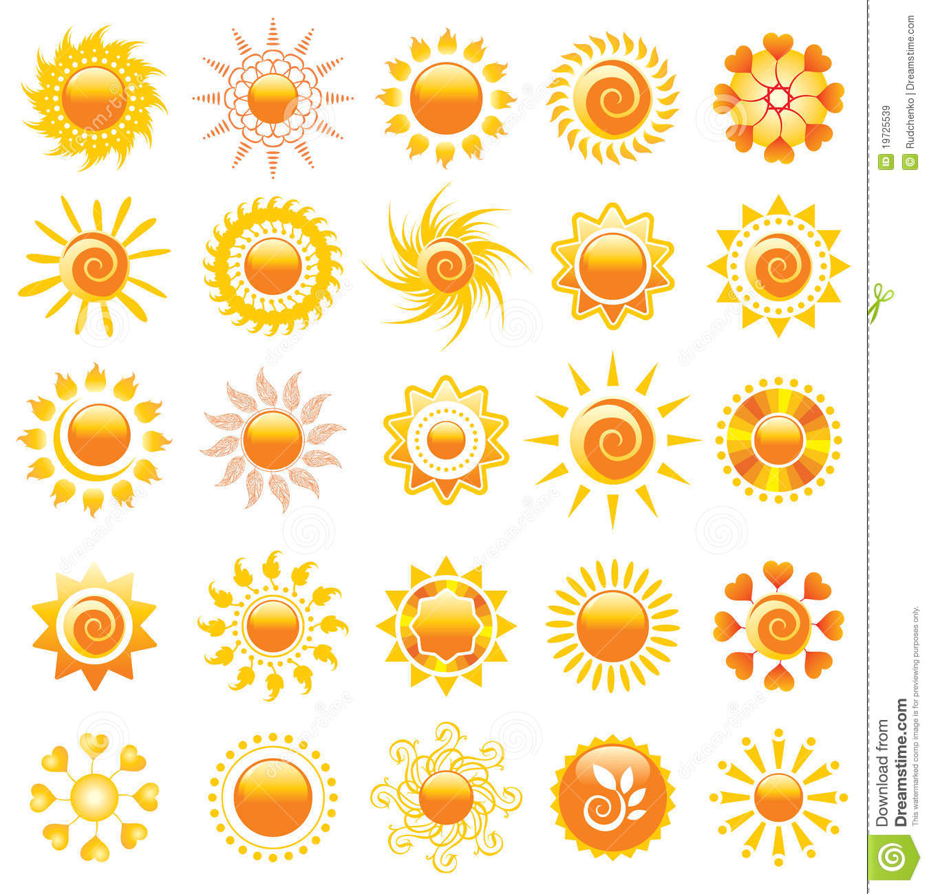 Sun Design Elements Stock Vector. Illustration Of Natural