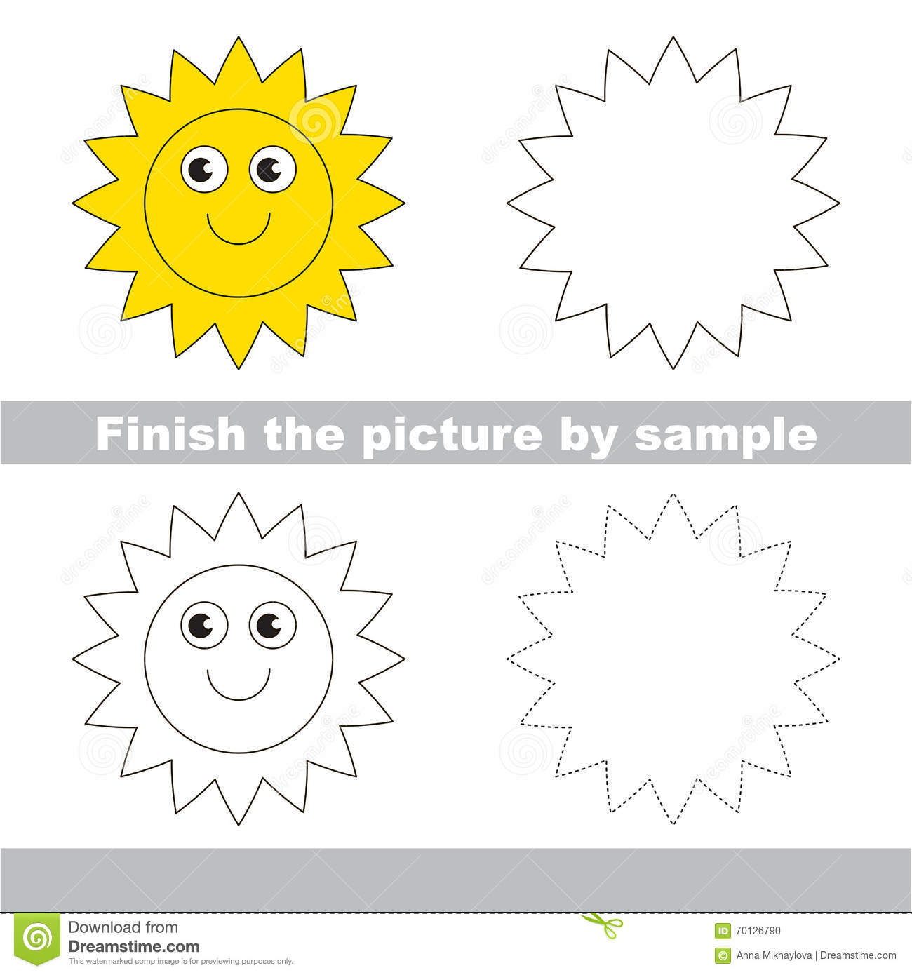 Sun Drawing Worksheet Vector Image 70126790 – Sun Worksheet