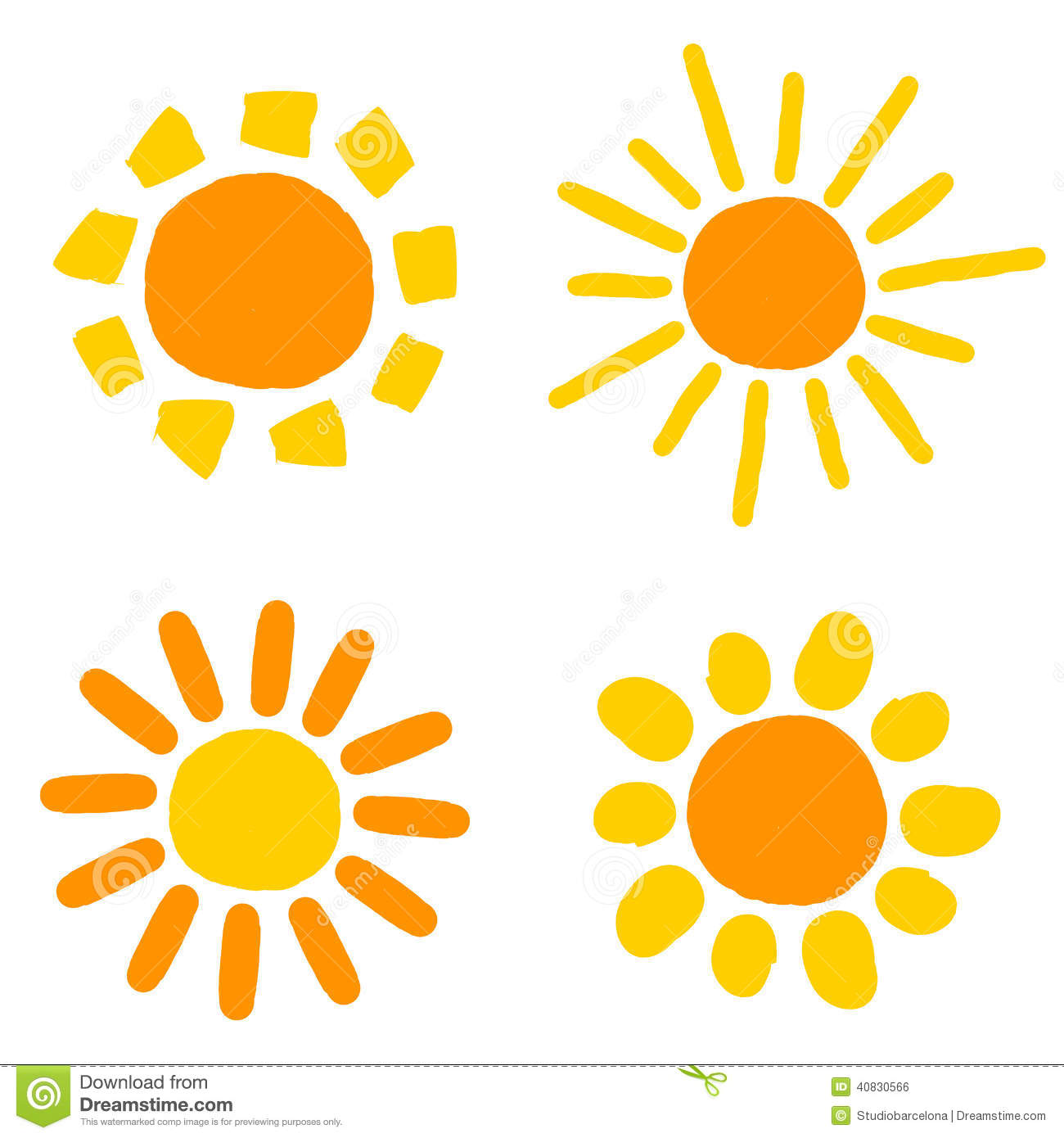 Sun Drawings Stock Vector Image 40830566