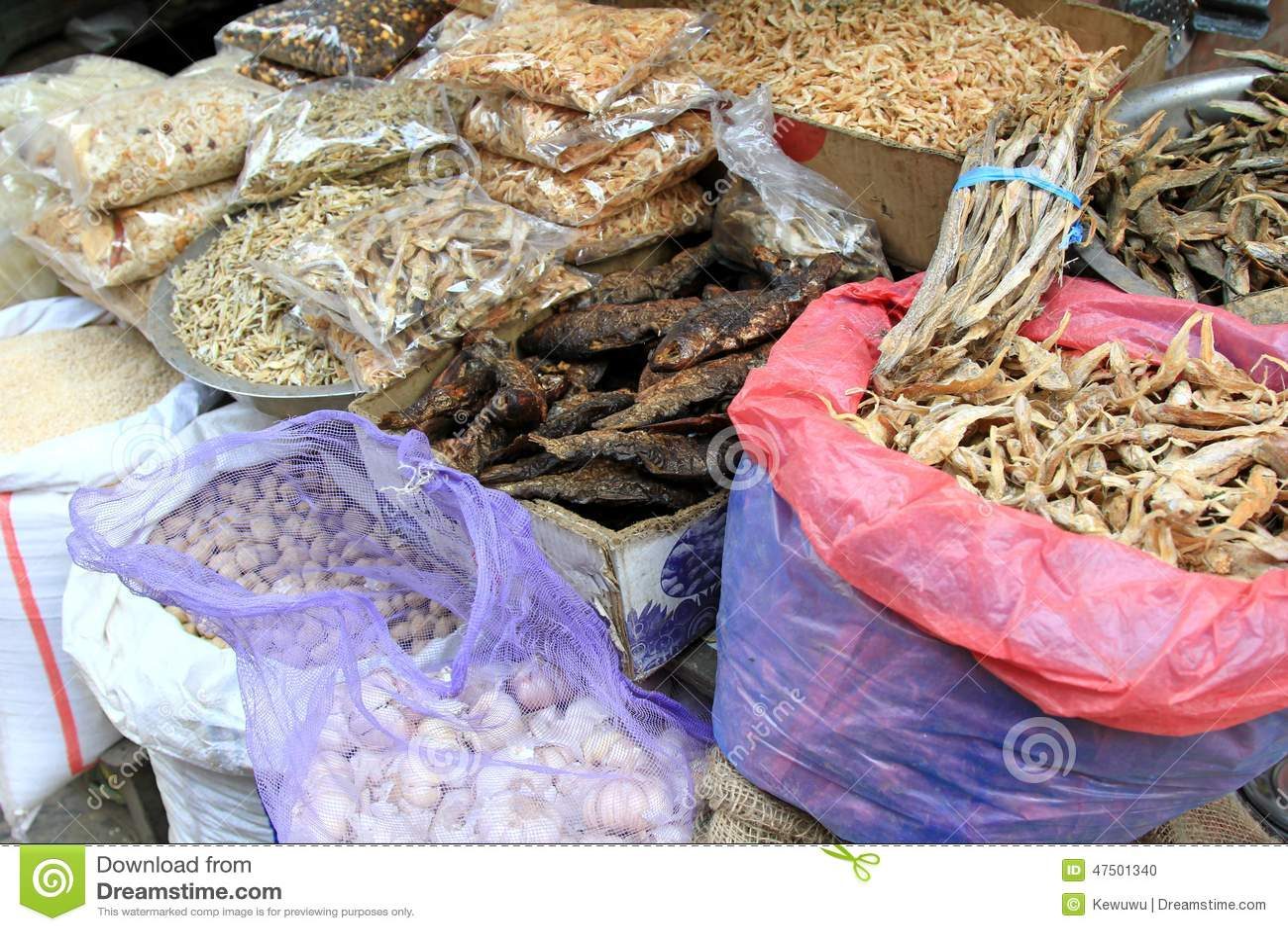 Sun dried food at the local market in kathmandu nepal for Hagen s fish market
