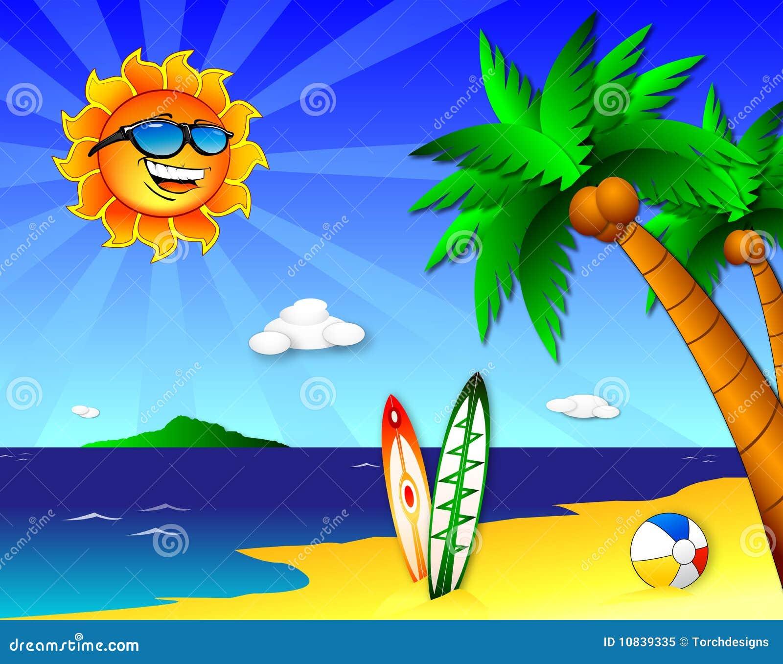 Sun e divertimento na praia