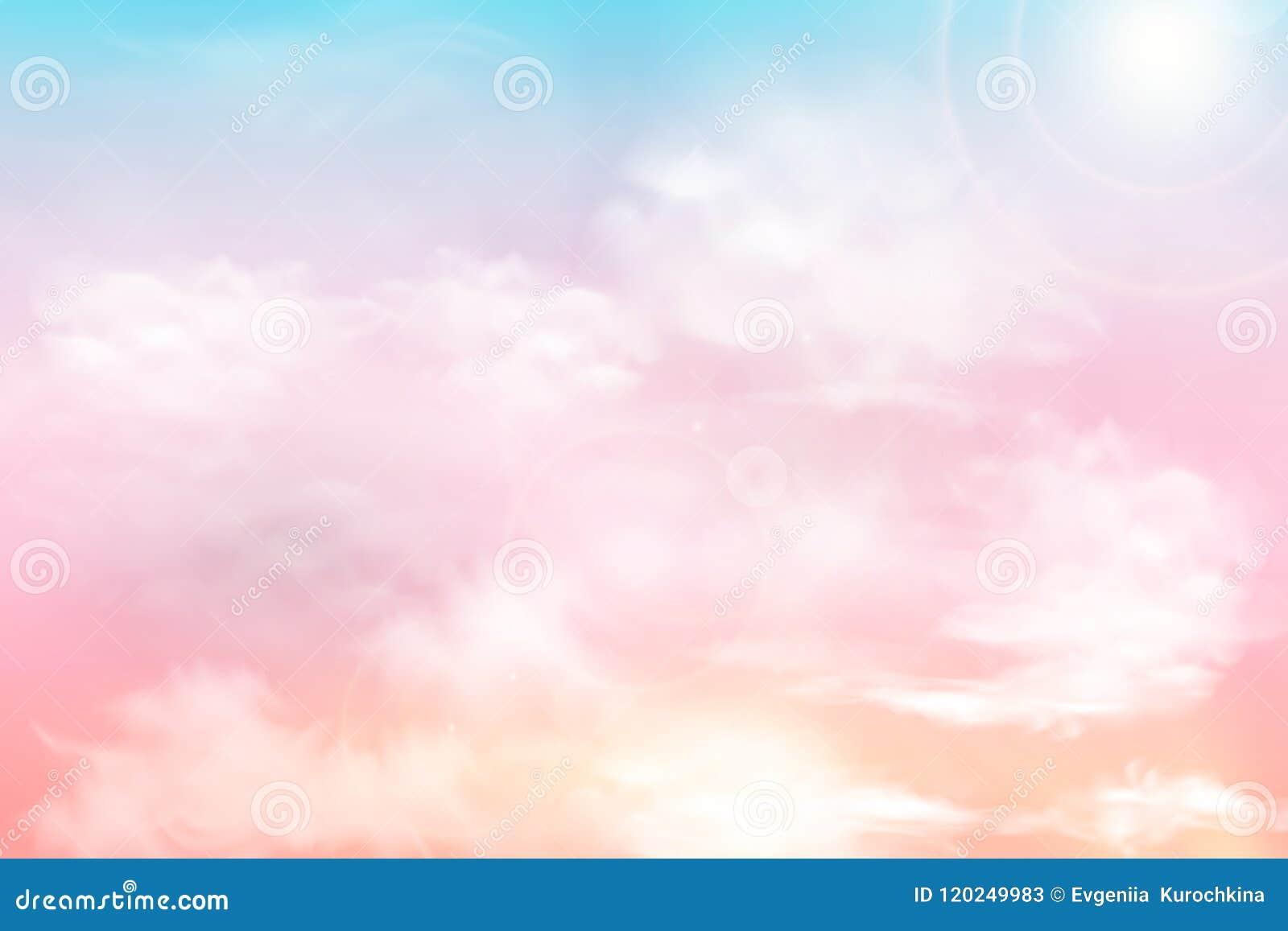 Sun e fundo das nuvens com uma cor pastel macia Fundo pastel do céu ensolarado mágico da fantasia com nebuloso colorido