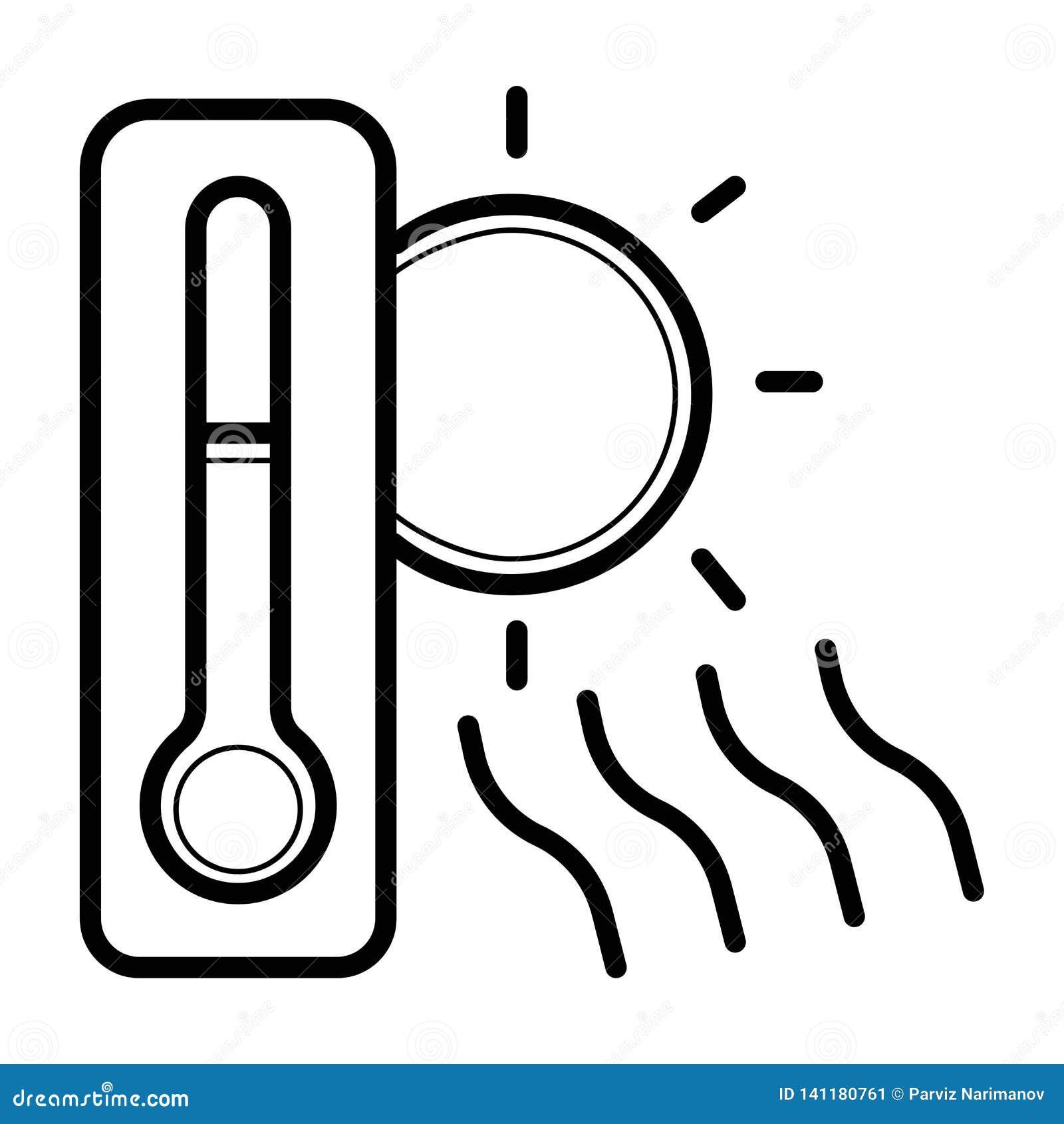 Sun e icono del termómetro