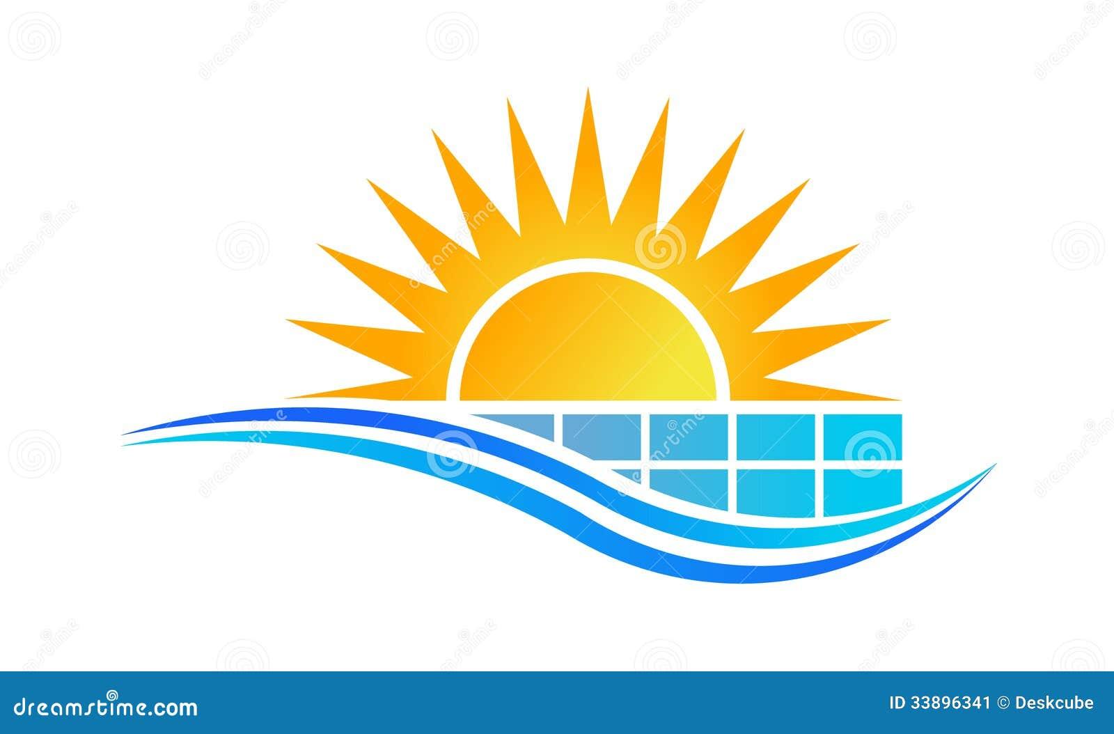 Sun E Logotipo Do Painel Solar Ilustra 231 227 O Do Vetor