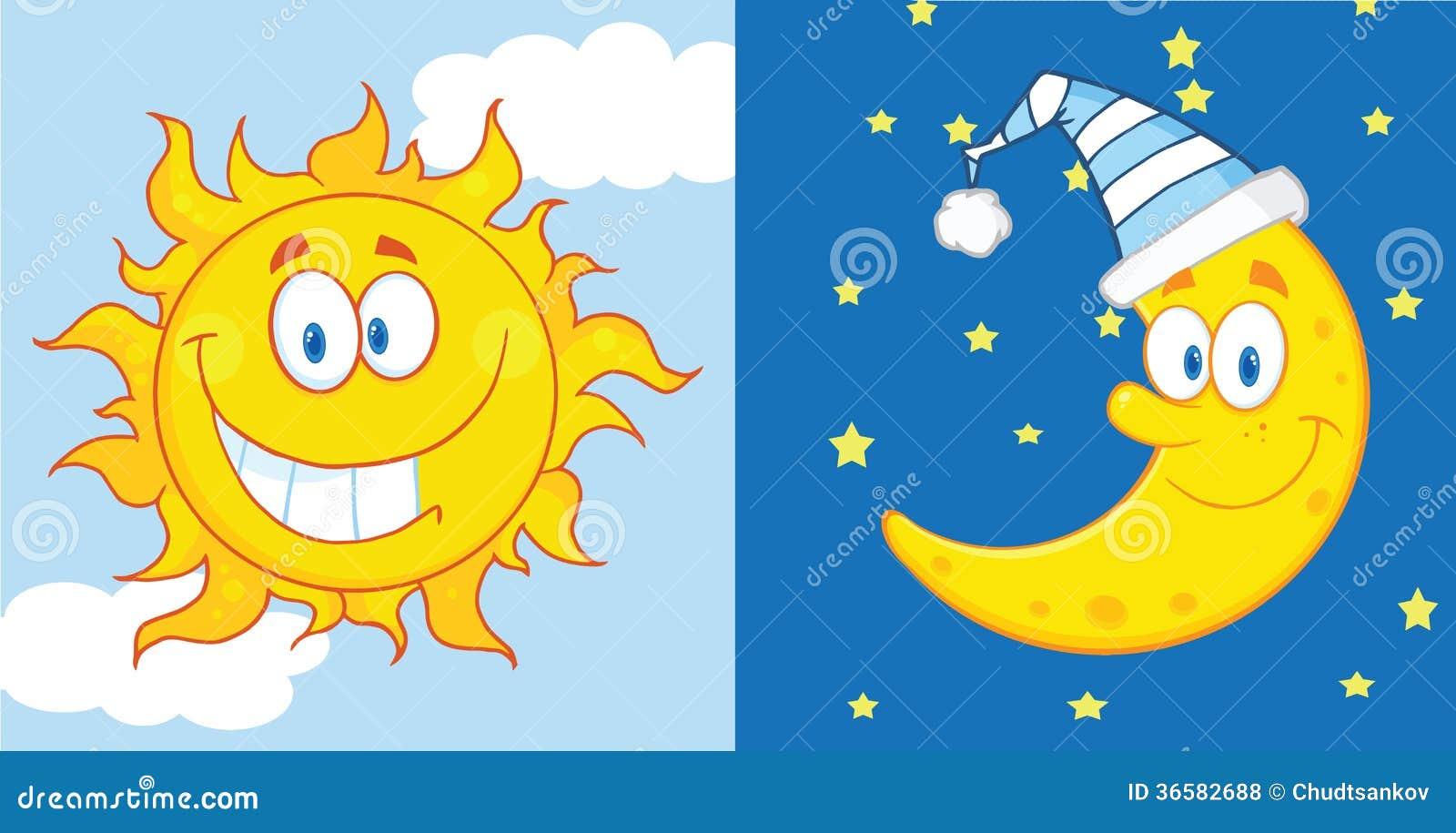 Sun e personaggi dei cartoni animati della luna fotografie