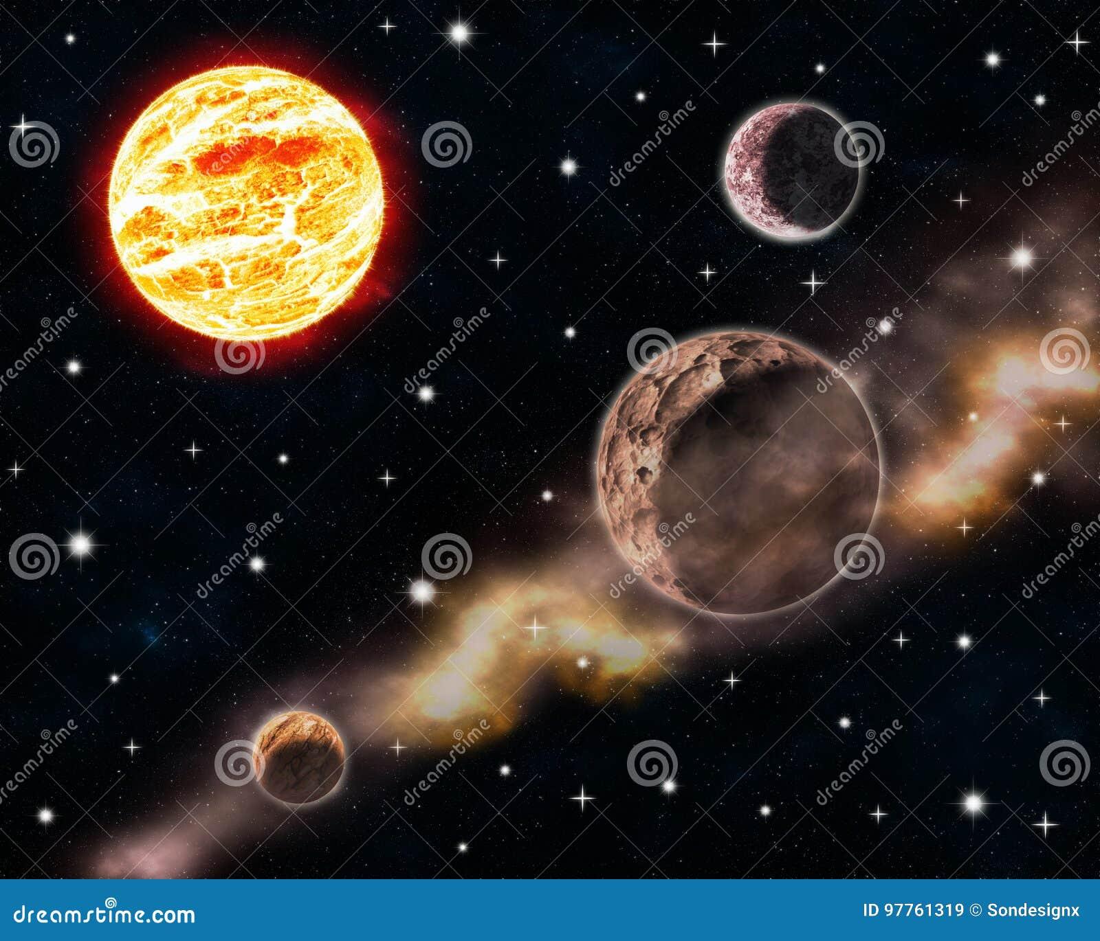 Sun e planetas na cena do espaço profundo com projeto celestial de incandescência da galáxia do universo do fundo da ilustração d