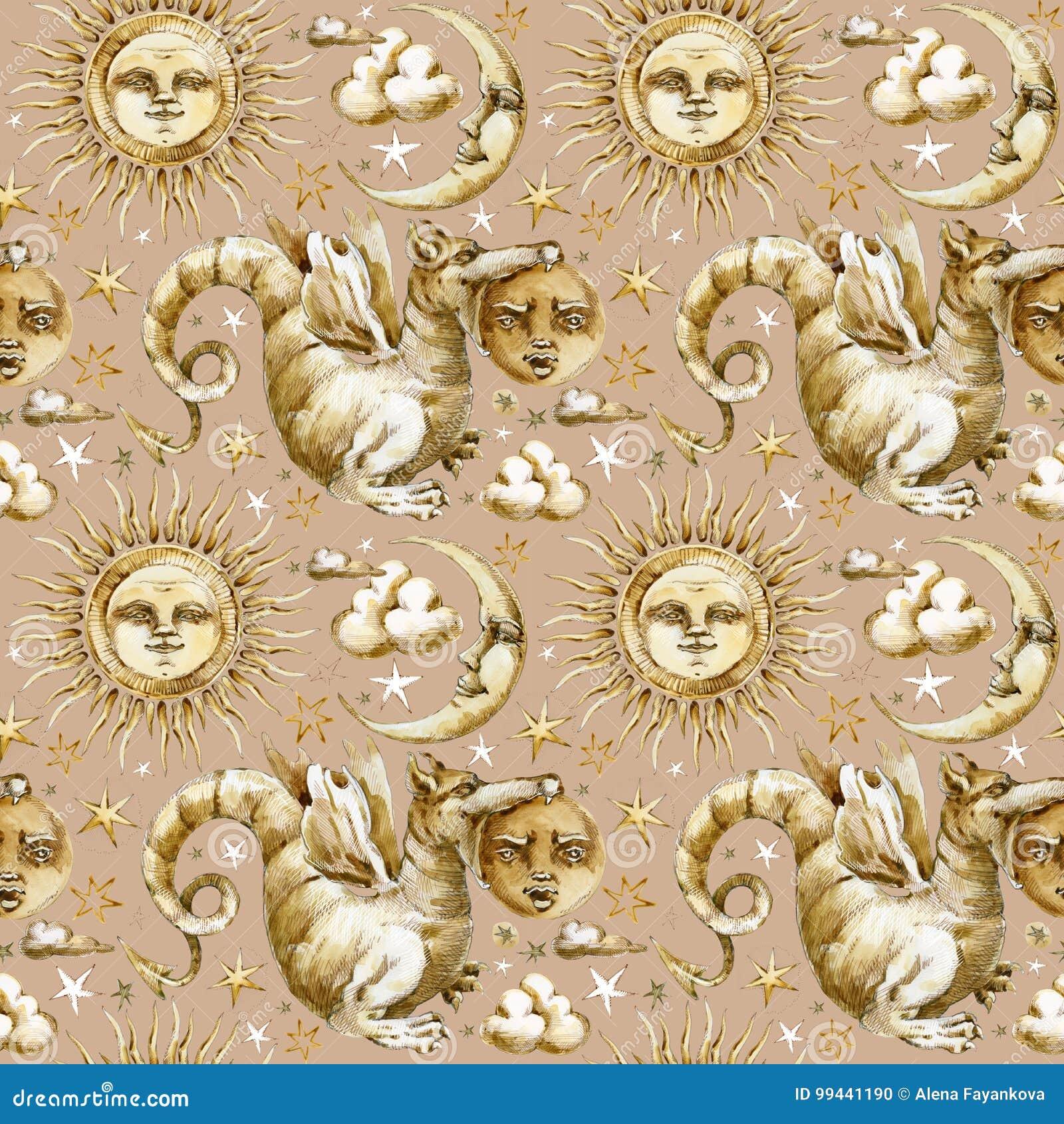 Sun e teste padrão sem emenda da lua grupo de símbolos celestiais, sol da ilustração da aquarela, lua, estrela, dragão, eclipse c