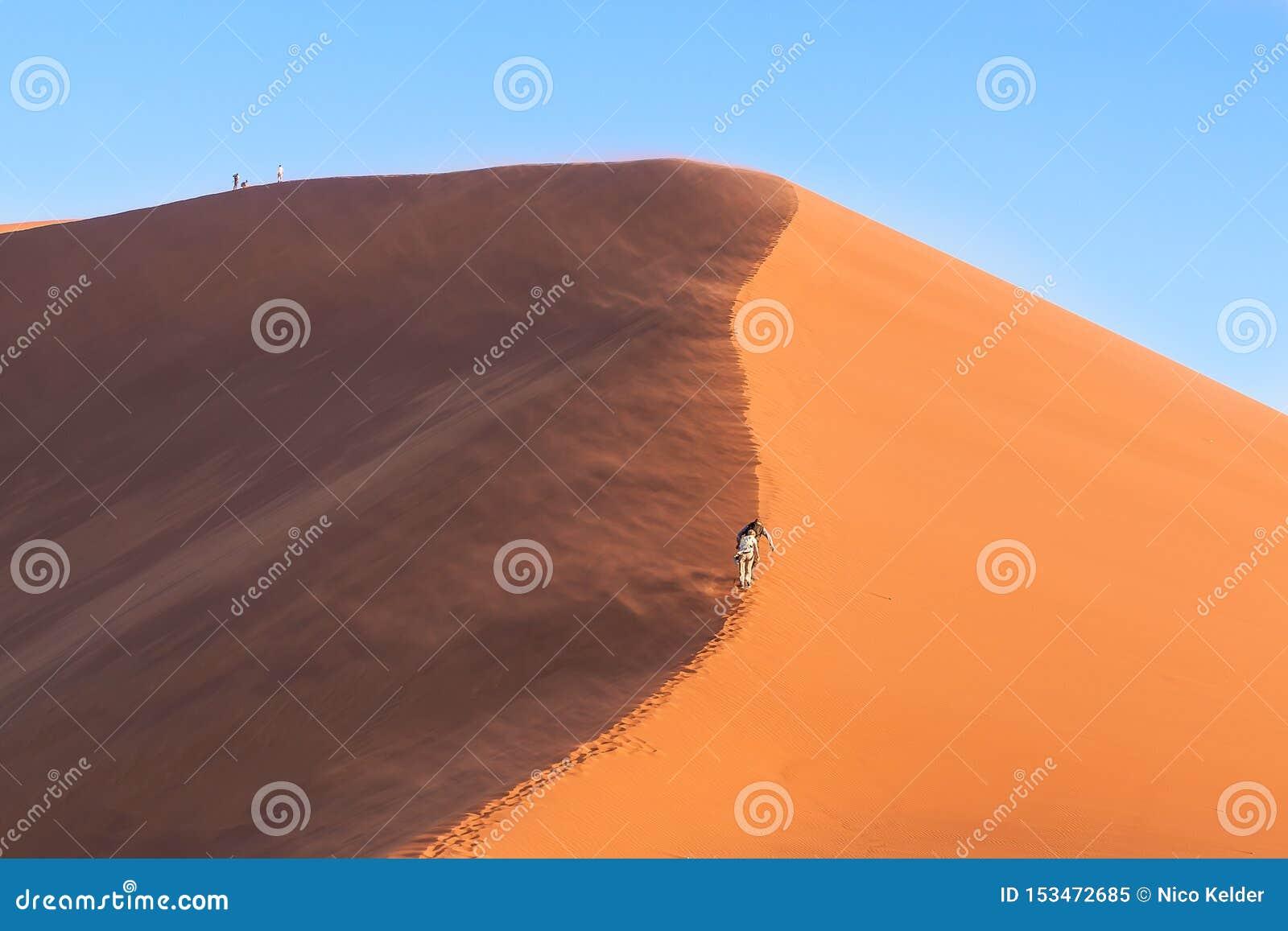 Sun e tiro da sombra da duna 45 em Namíbia